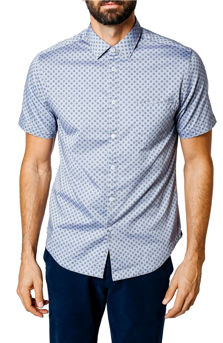 Trim Fit Micro Floral Sport Shirt,                         Main,                         color, Indigo