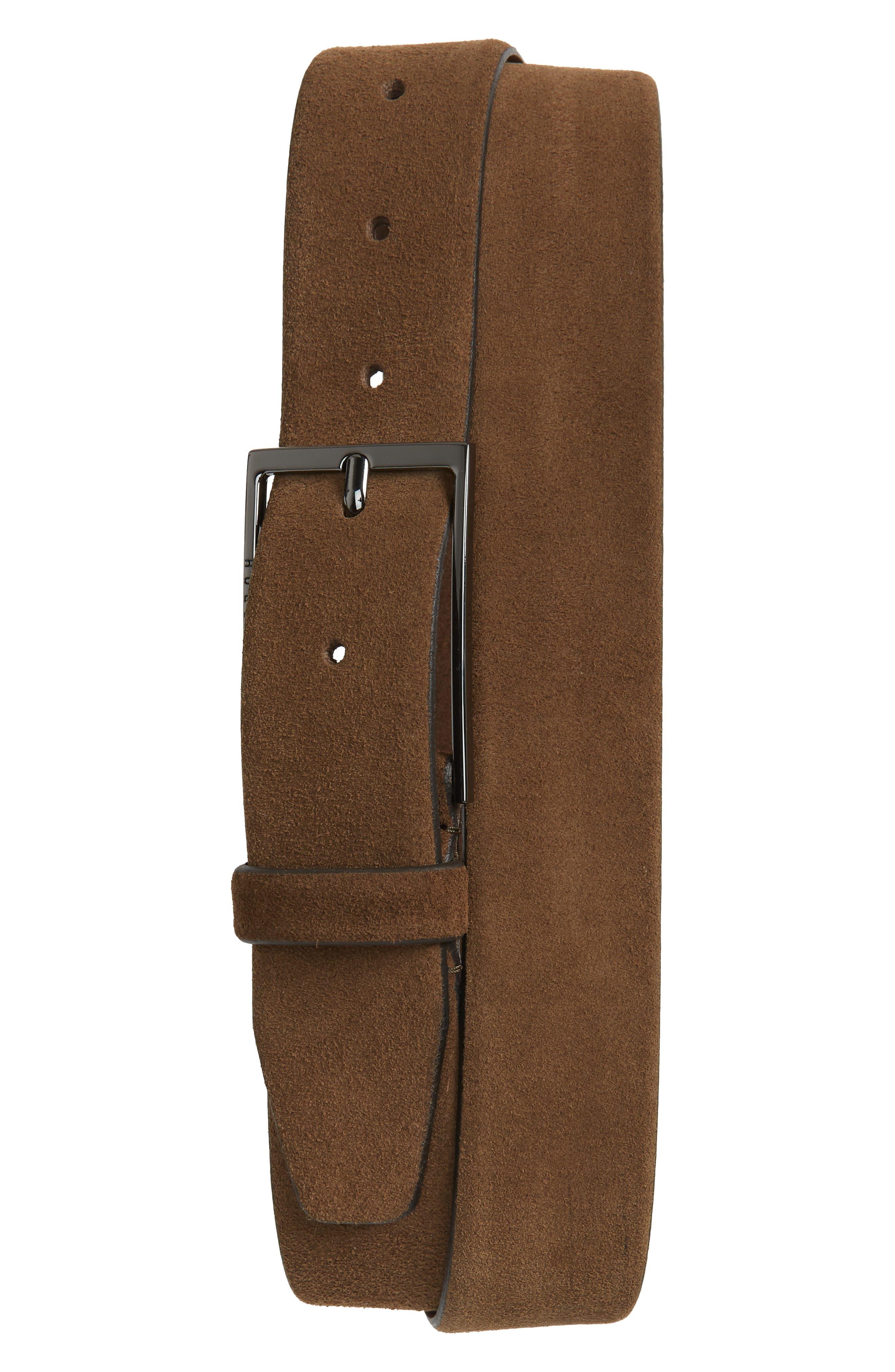 Calindo Suede Belt,                             Main thumbnail 1, color,                             Medium Brown