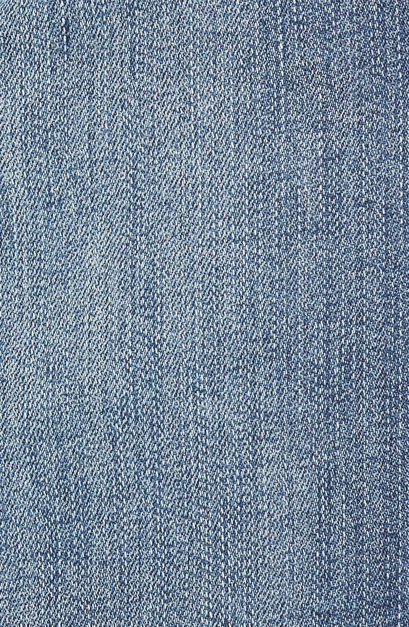 KUT from the Kloth Distressed Step Hem Denim Skirt,                             Alternate thumbnail 6, color,                             Meditative