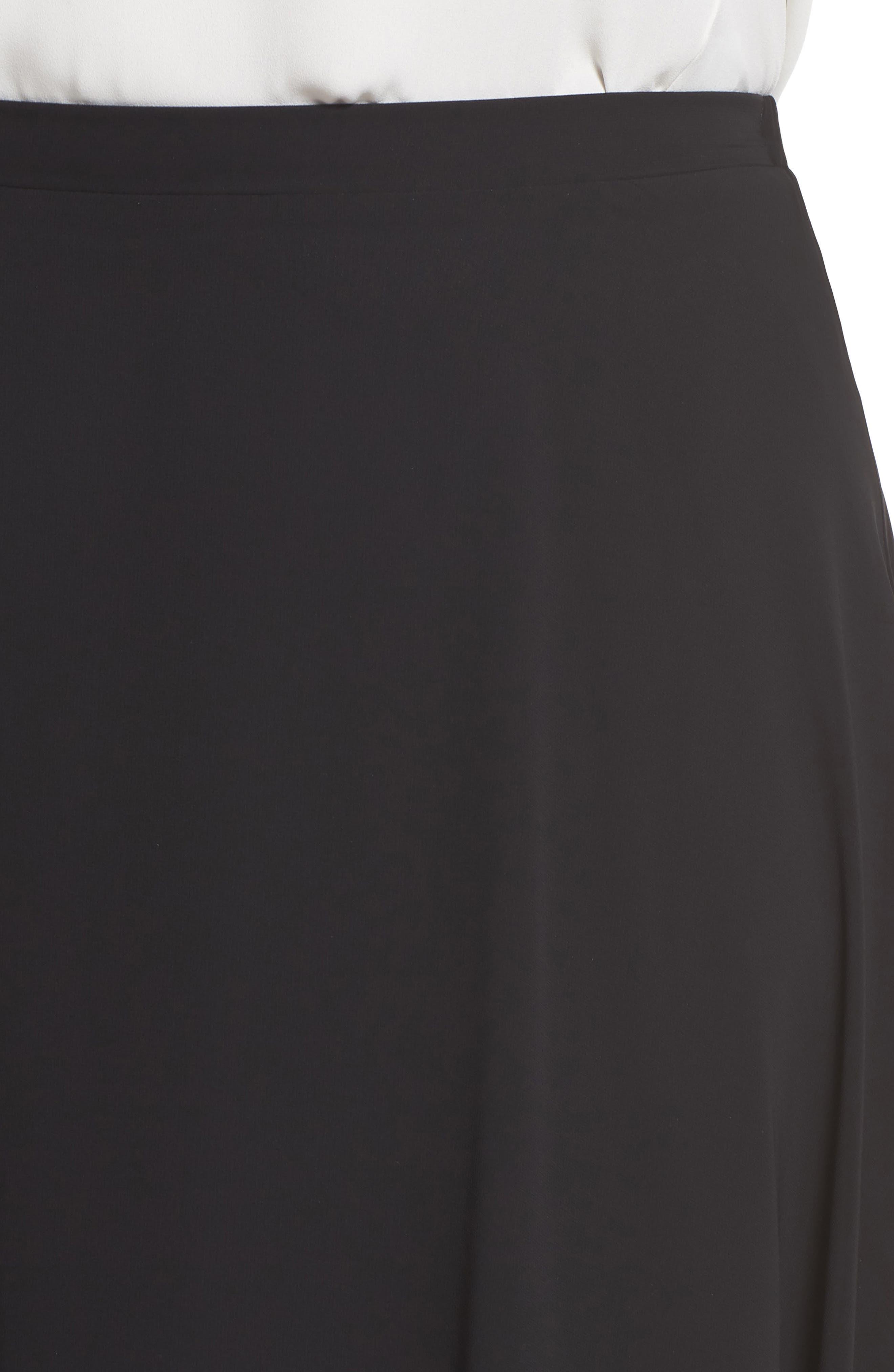 Long Circle Skirt,                             Alternate thumbnail 4, color,                             Black