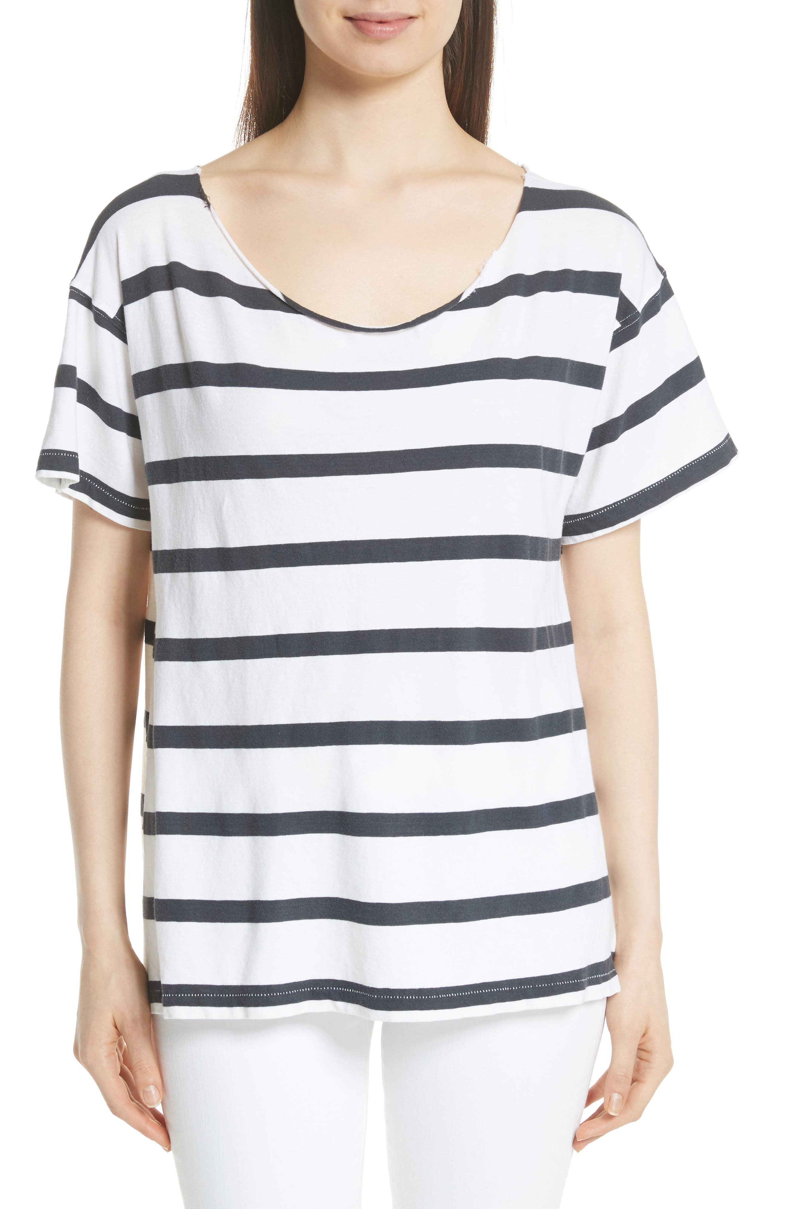 THE GREAT. Stripe Cut Neck Tee