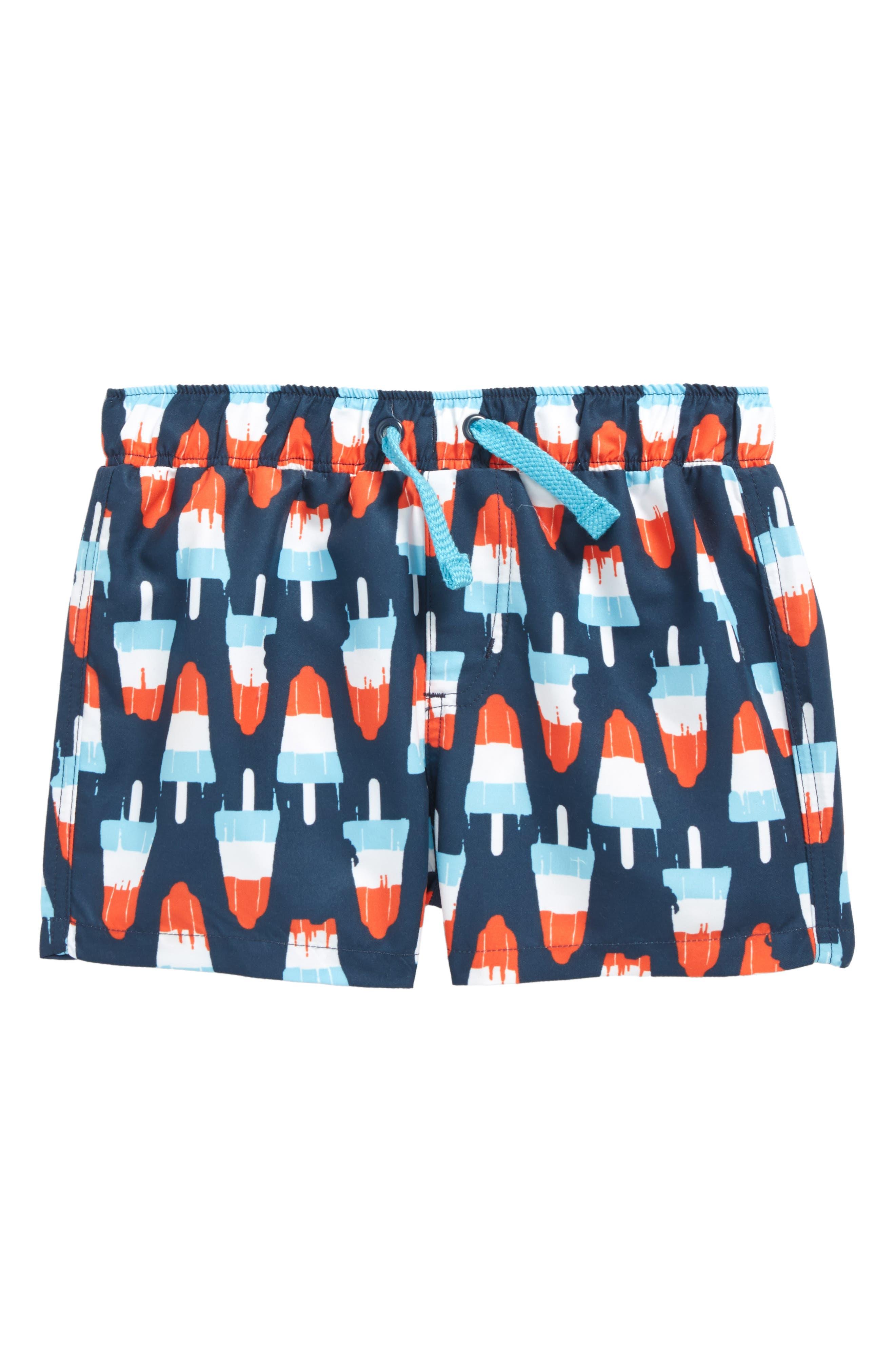 Print Swim Trunks,                         Main,                         color, Navy Dress Popsicles