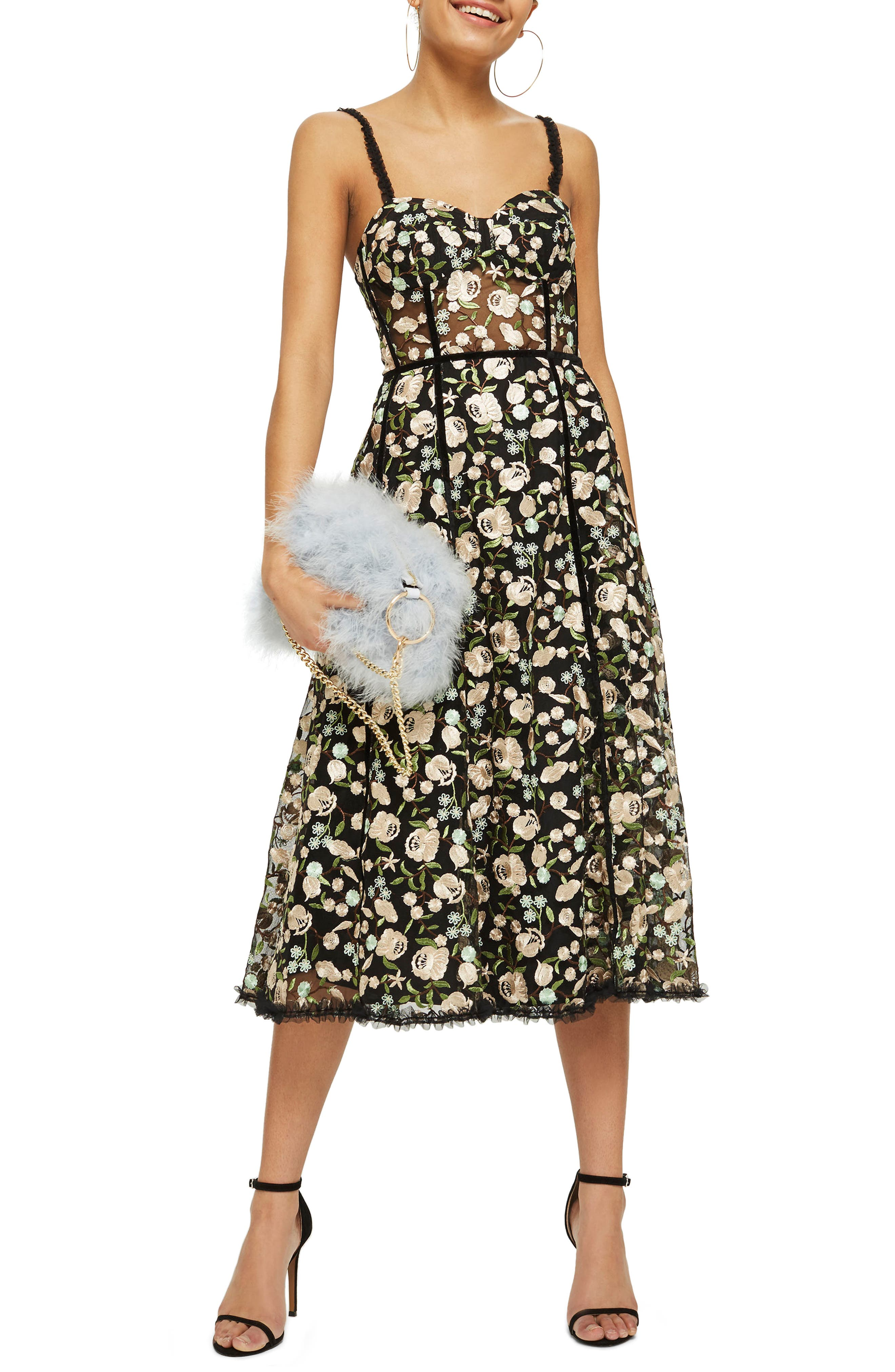 Topshop Floral Corset Midi Dress