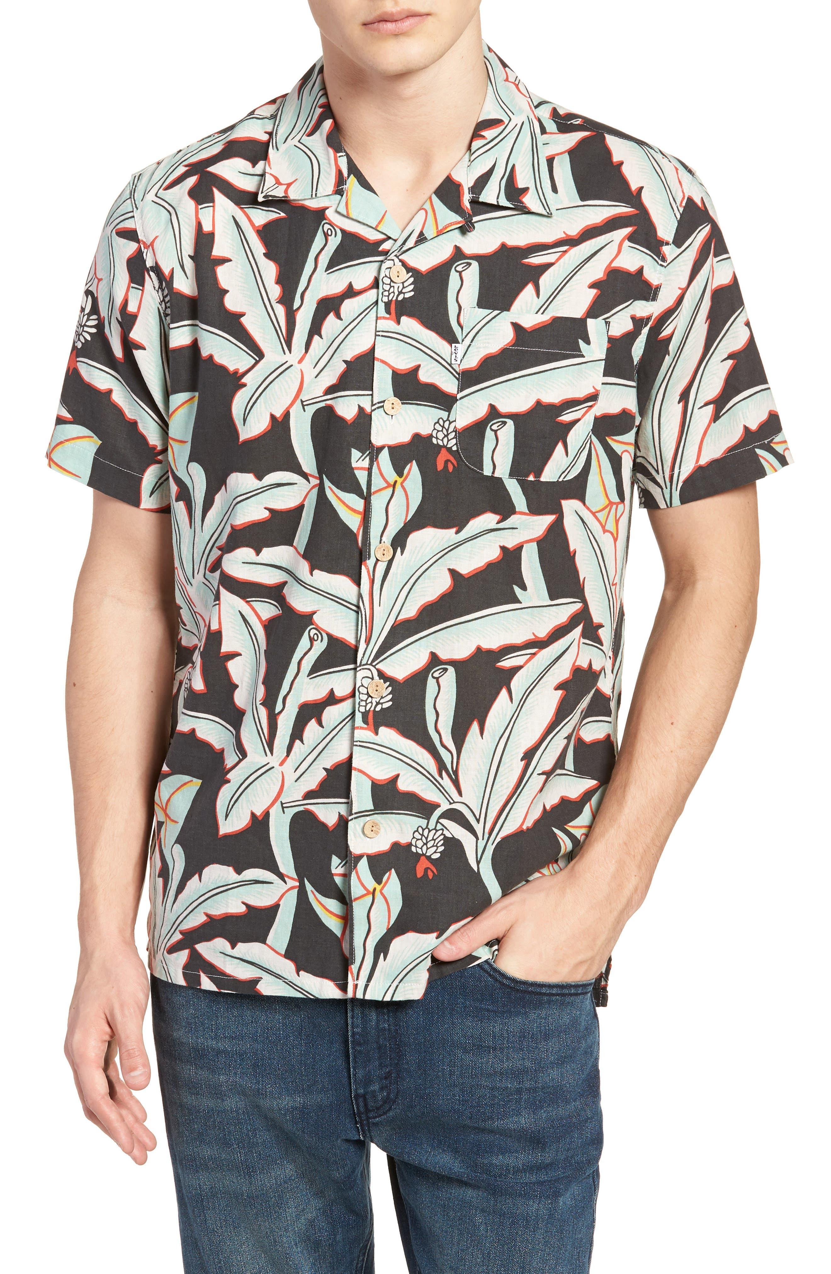 Hawaiian Woven Shirt,                         Main,                         color, Holtville Ming Green