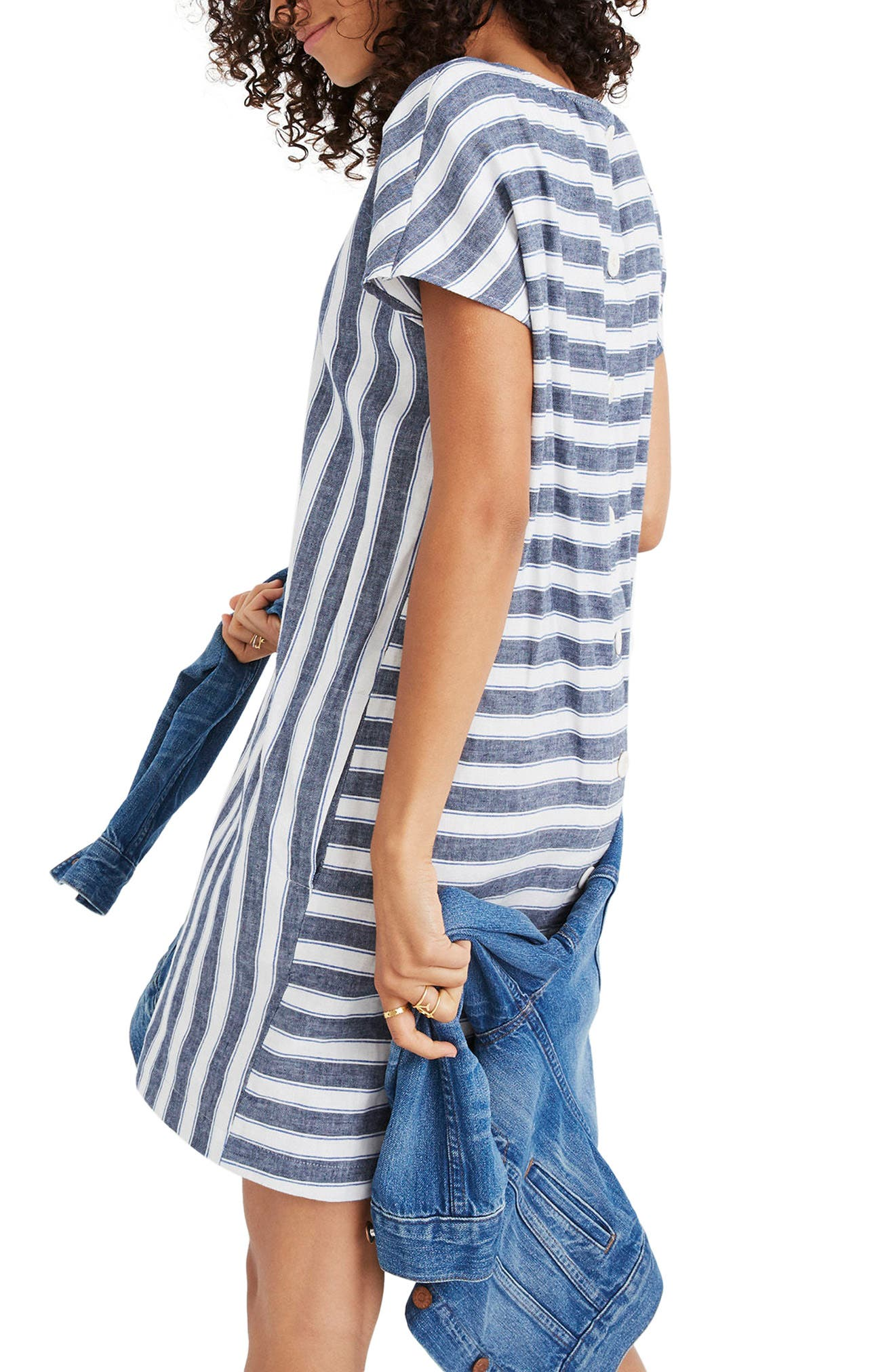Stripe Play Button Back Dress,                             Alternate thumbnail 3, color,                             Transatlantic Blue