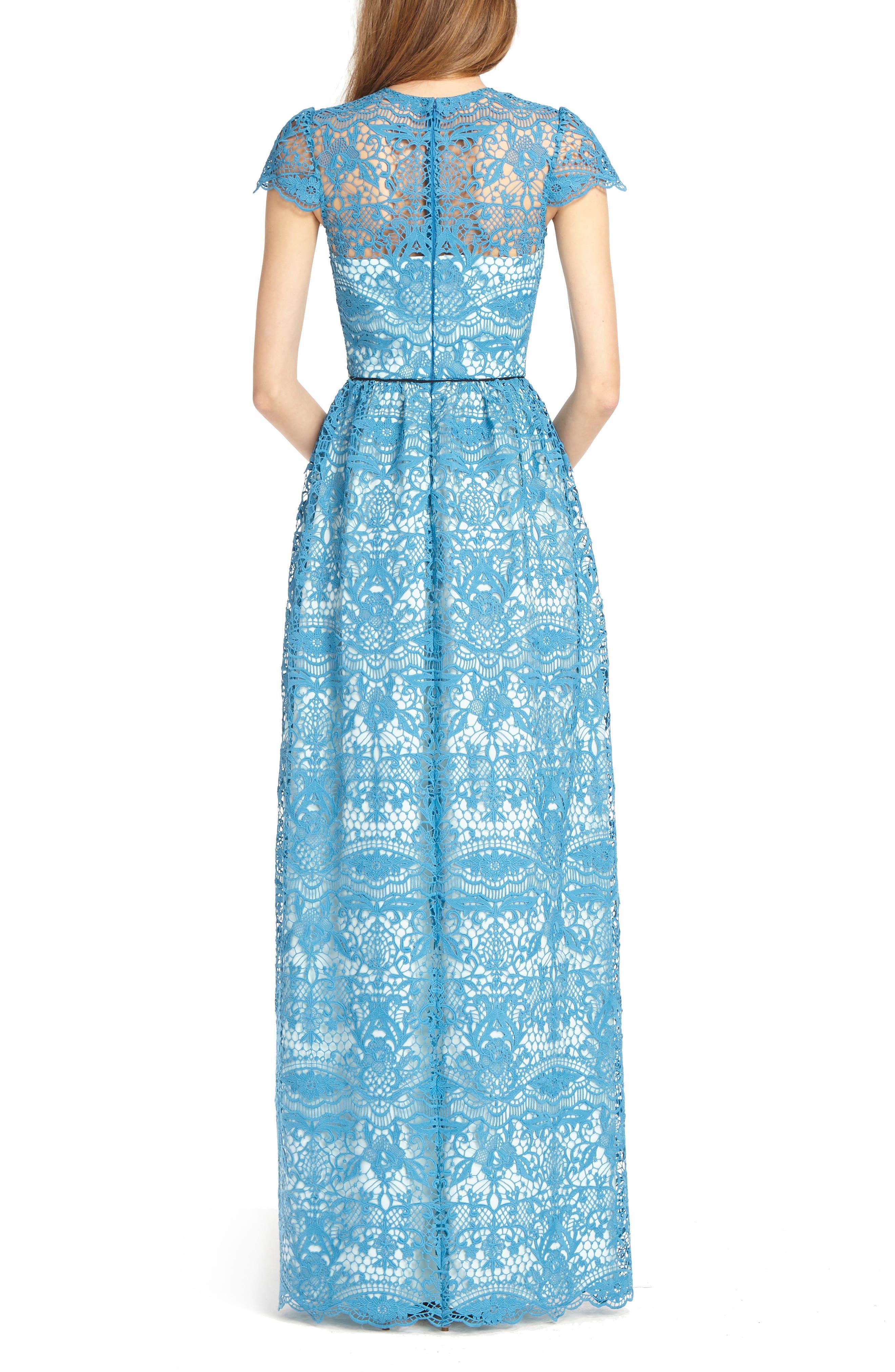 Illusion Lace Gown,                             Alternate thumbnail 2, color,                             Azure Blue