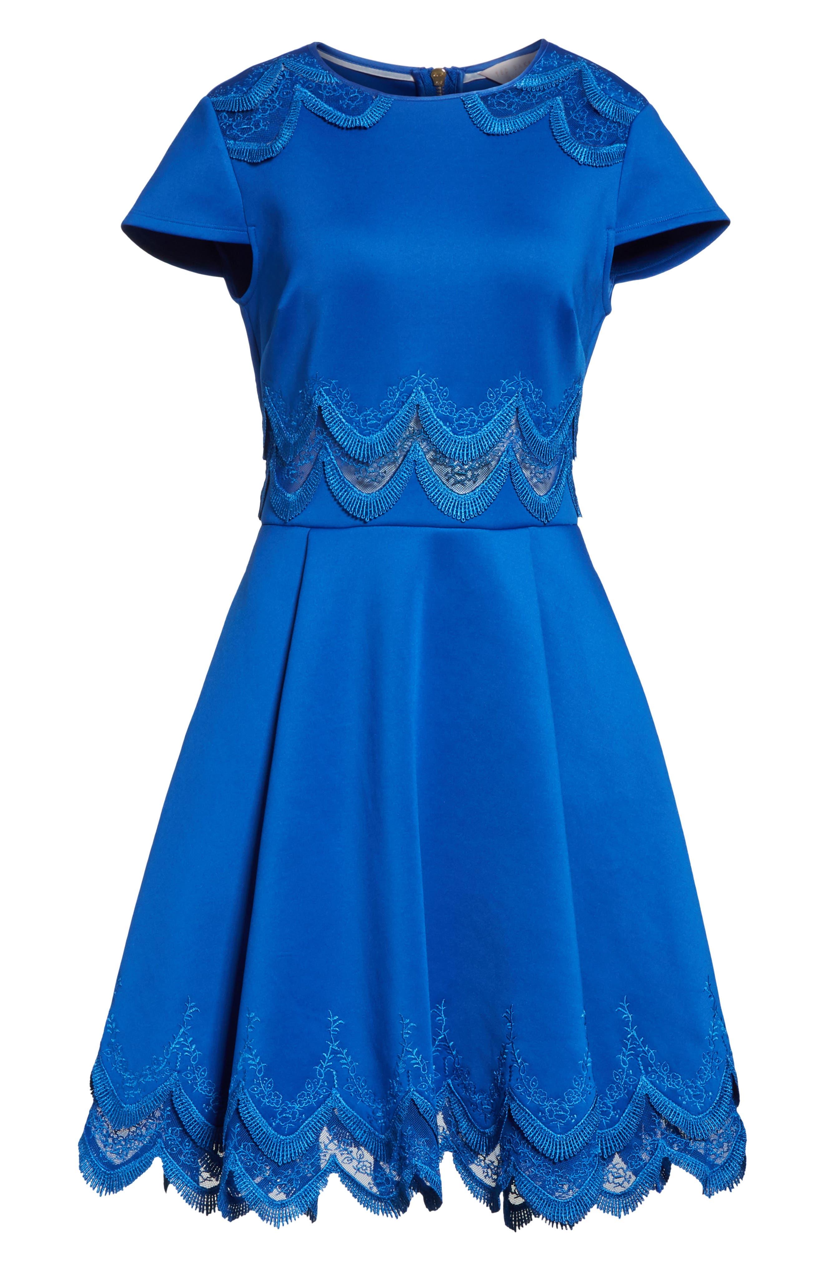 Embroidered Cap Sleeve Skater Dress,                             Alternate thumbnail 6, color,                             Mid Blue
