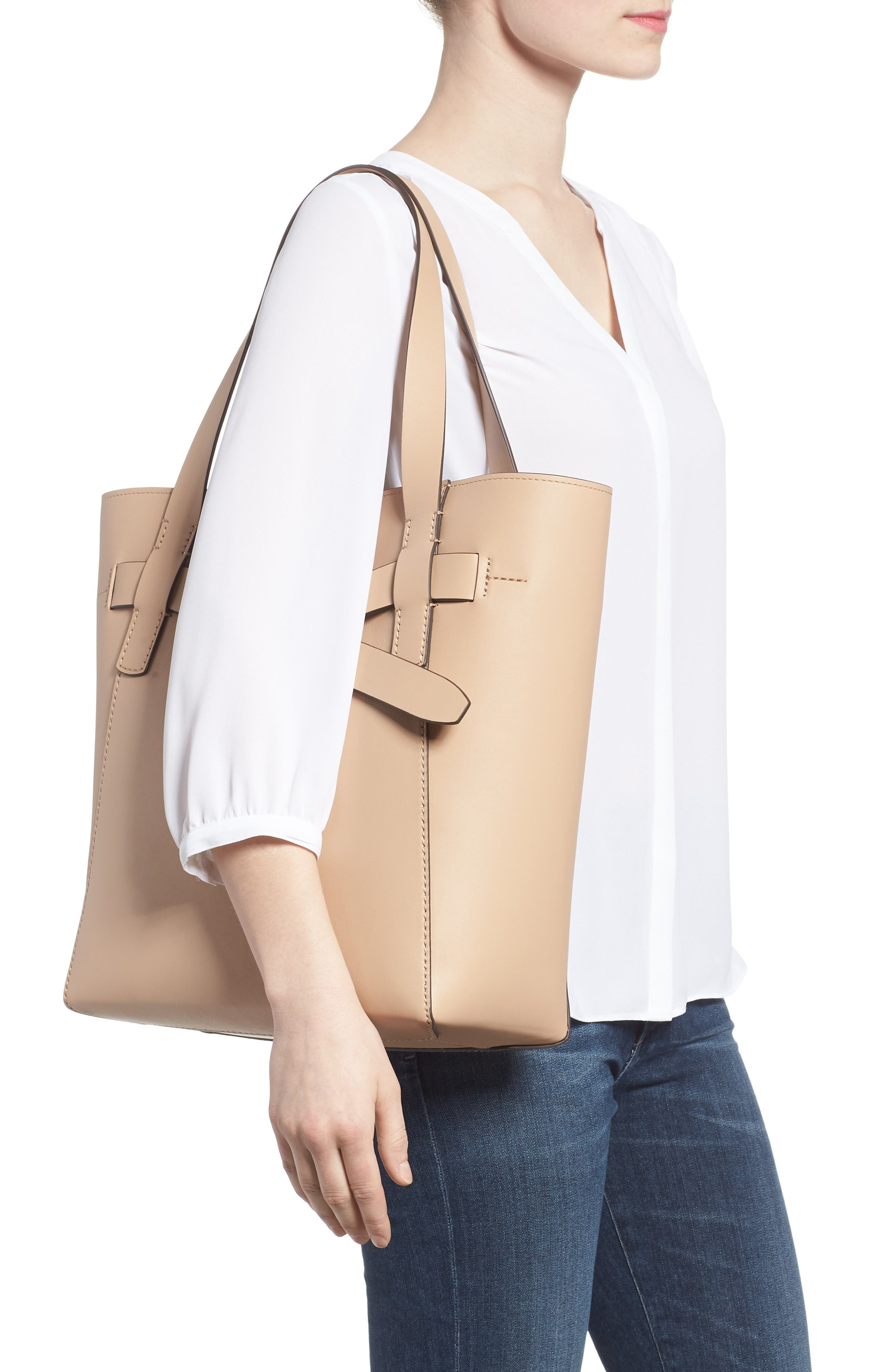 Gemini Link Leather Tote,                             Alternate thumbnail 2, color,                             Perfect Sand
