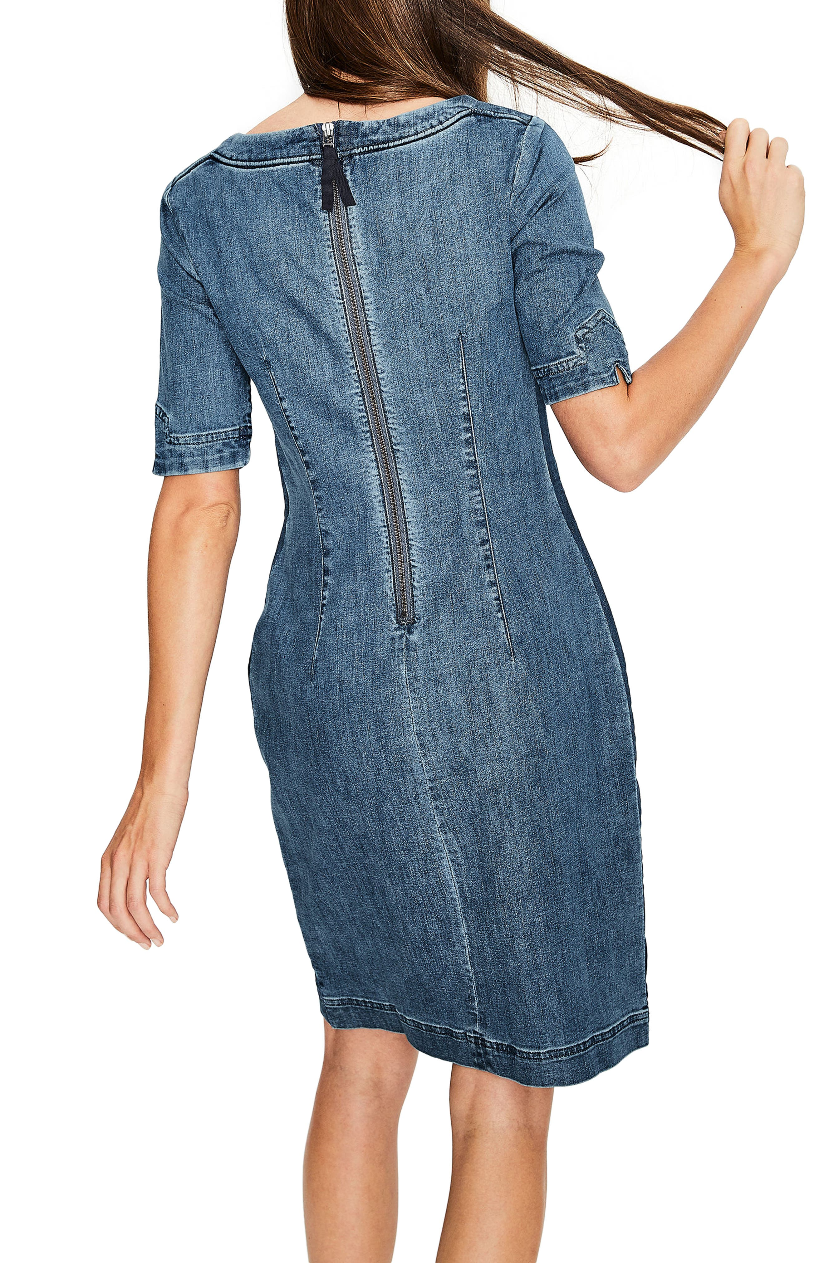 Rhea Denim Contrast Dress,                             Alternate thumbnail 2, color,                             Mid Vintage With Side Stripe