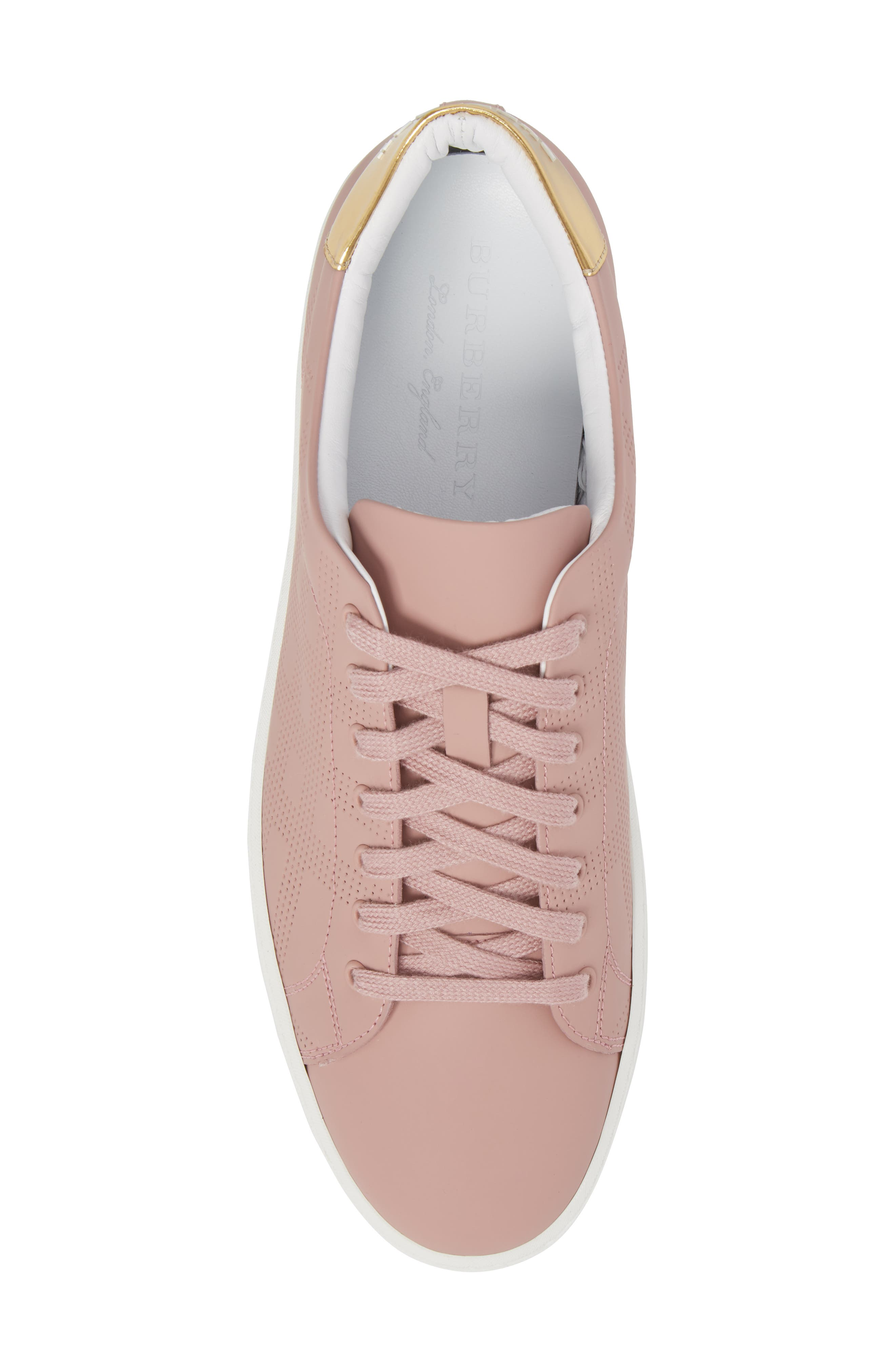 Perforated Check Sneaker,                             Alternate thumbnail 5, color,                             Rose Pink