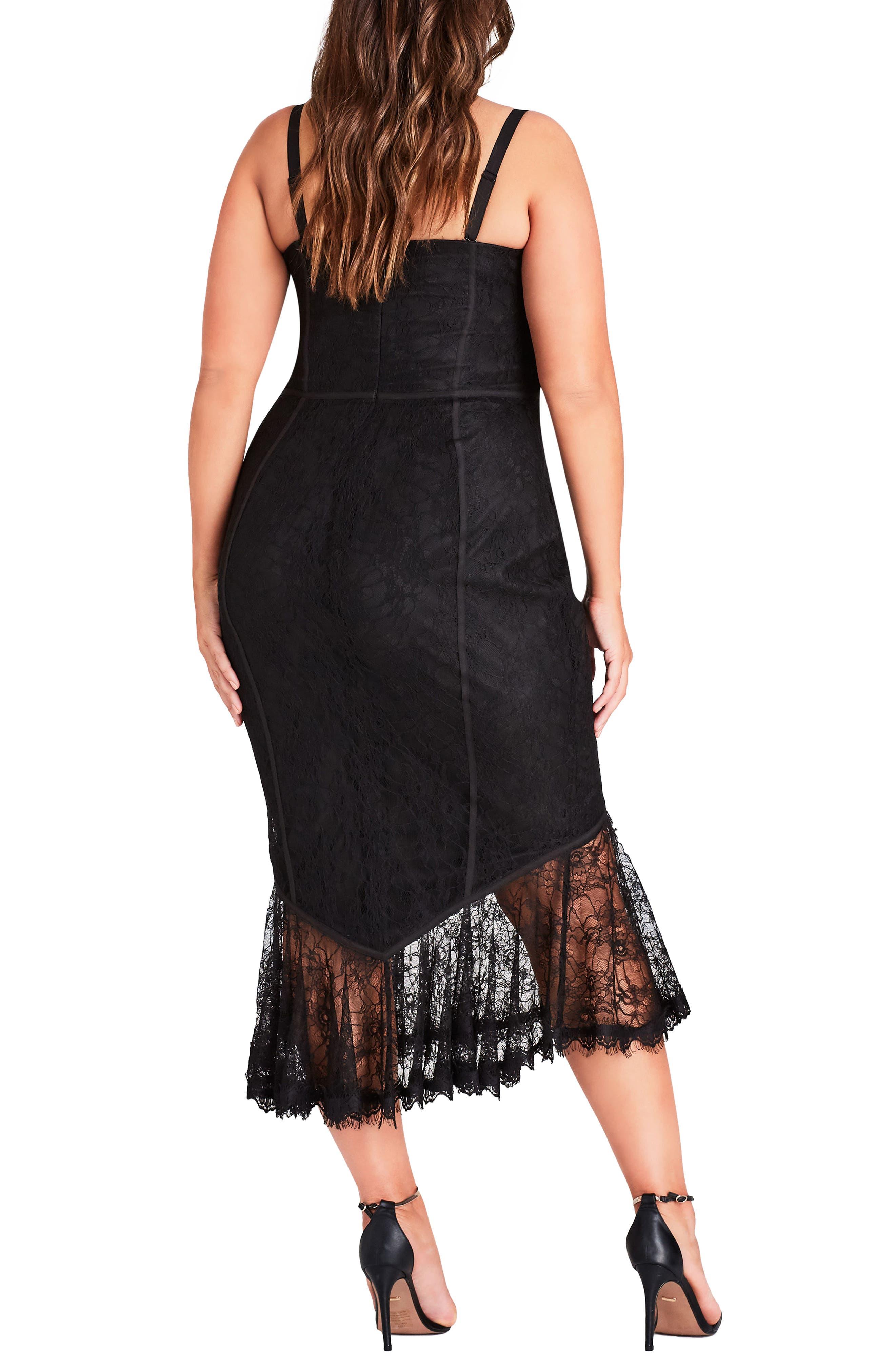 So Seductive Ruffle Hem Lace Body-Con Dress,                             Alternate thumbnail 2, color,                             Black