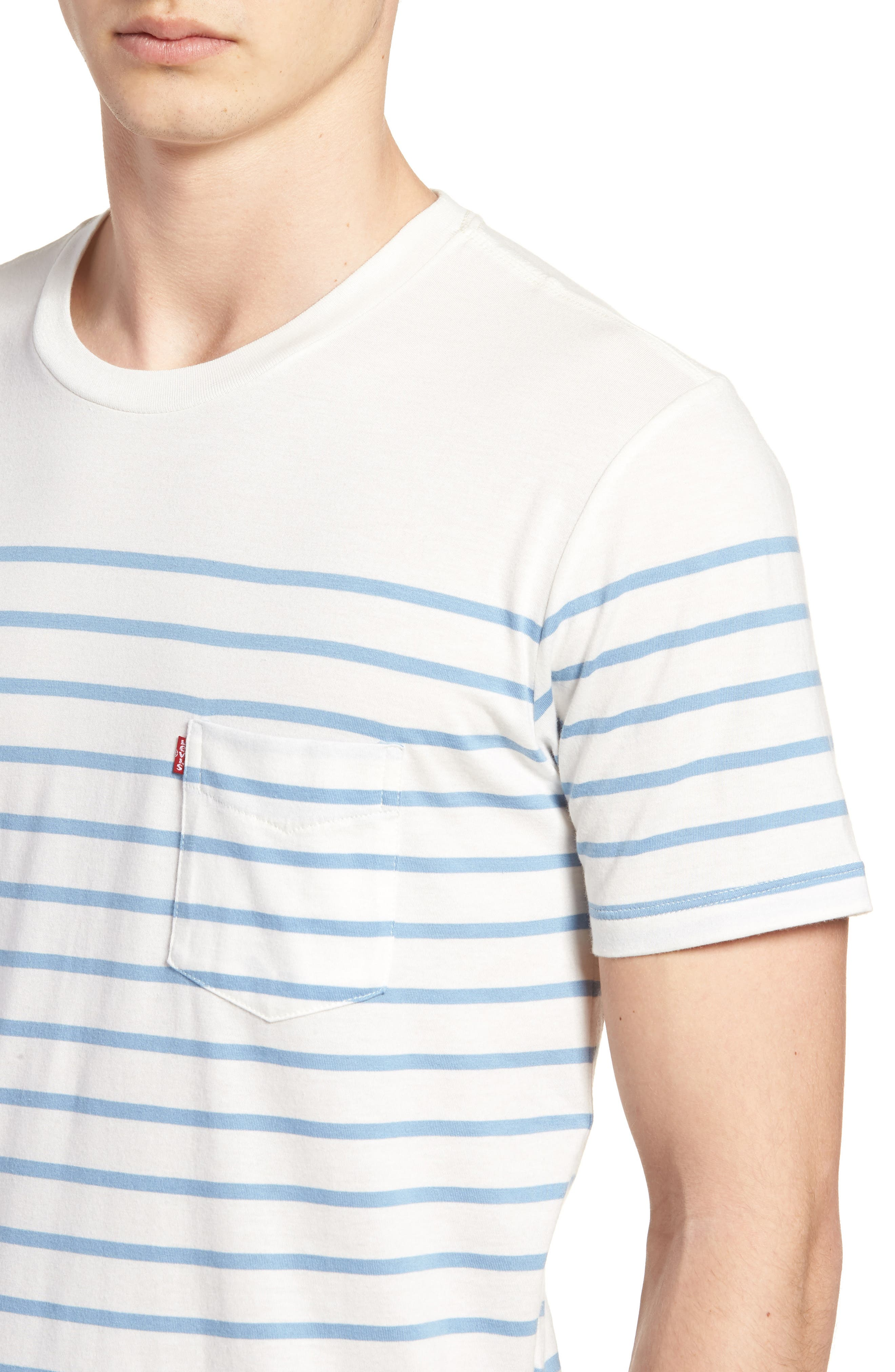 Sunset Pocket T-Shirt,                             Alternate thumbnail 4, color,                             Stripe Marshmallow / Allure