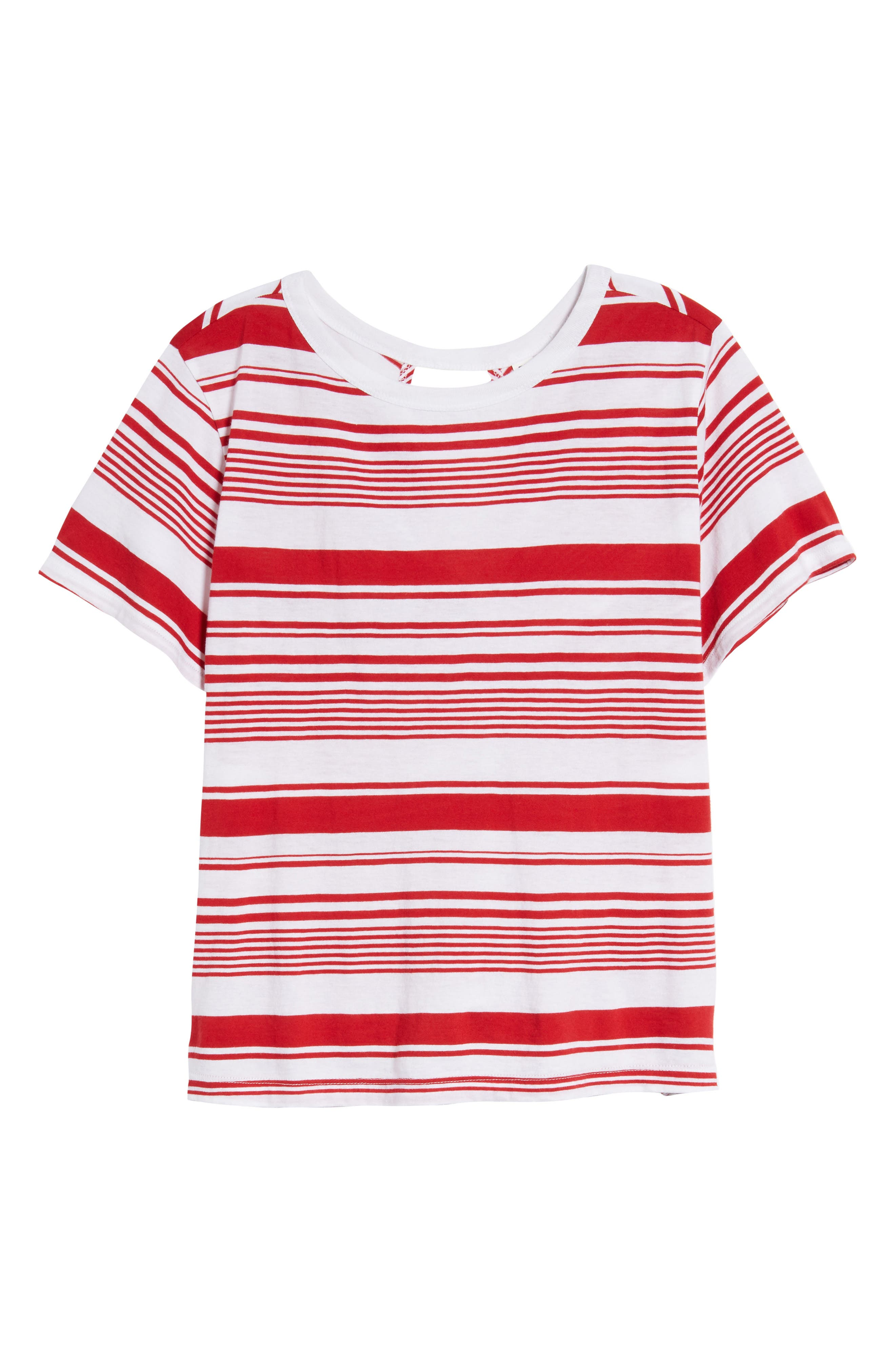 Twist Back Tee,                             Alternate thumbnail 7, color,                             Red Couture Monaco Stripe