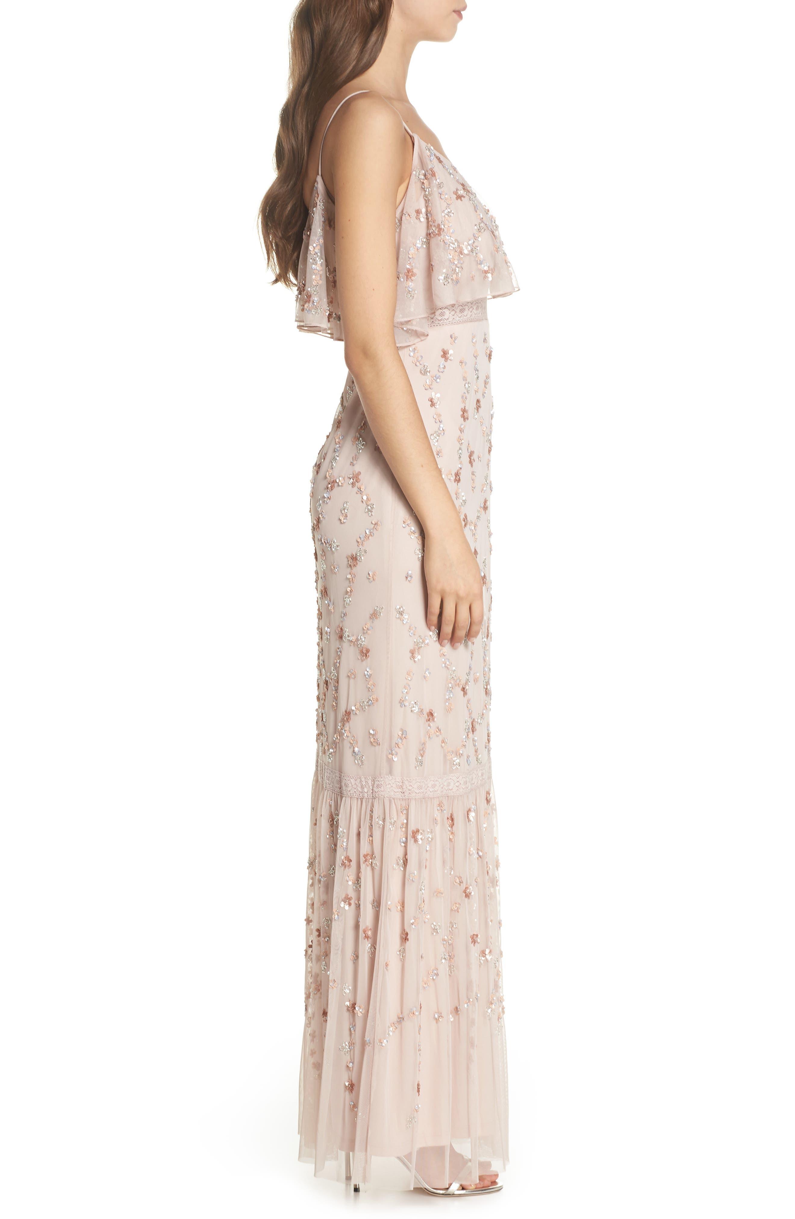 Embellished Mesh Popover Gown,                             Alternate thumbnail 3, color,                             Blush