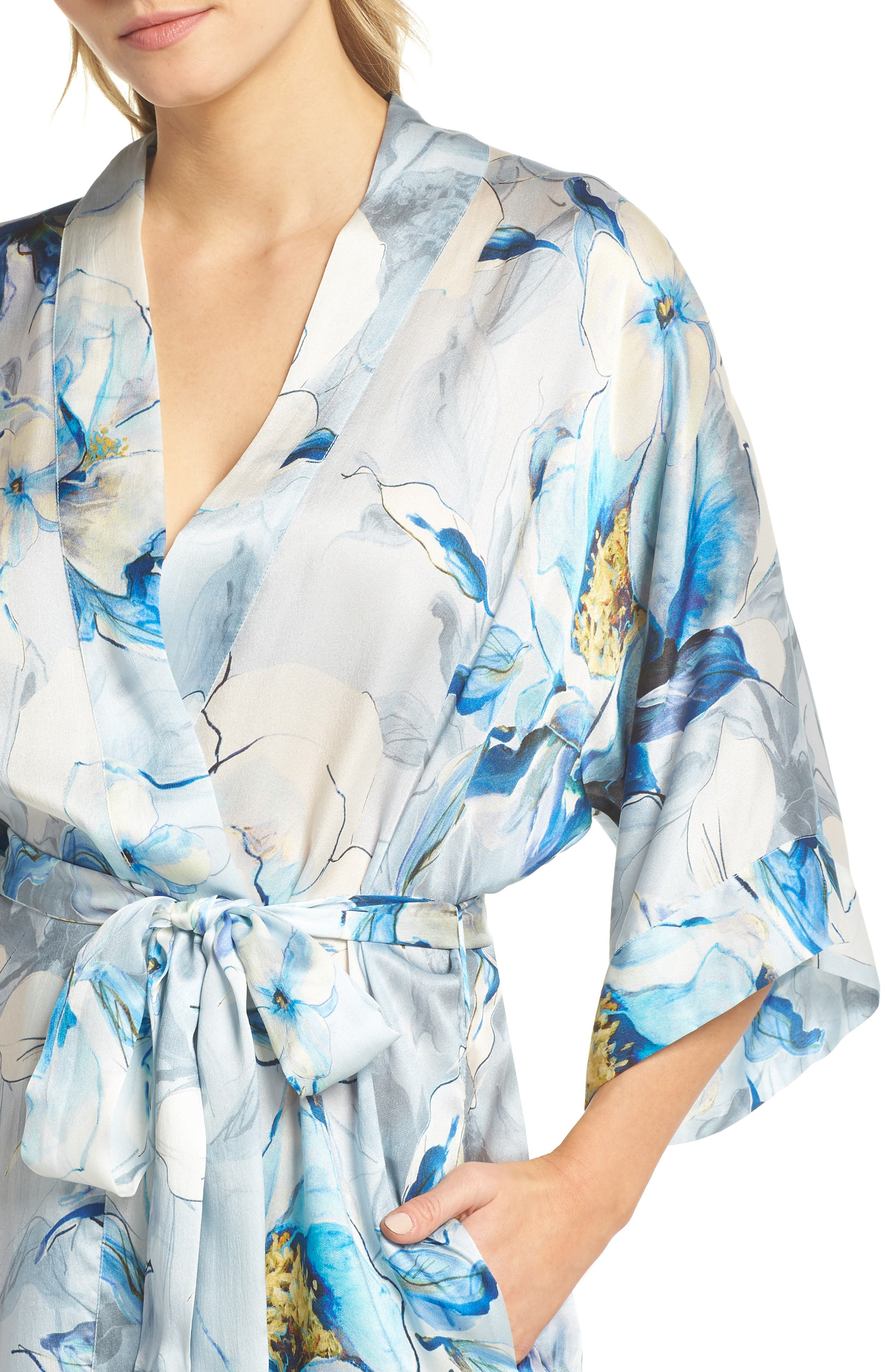 Short Silk Robe,                             Alternate thumbnail 5, color,                             Swept Away Print