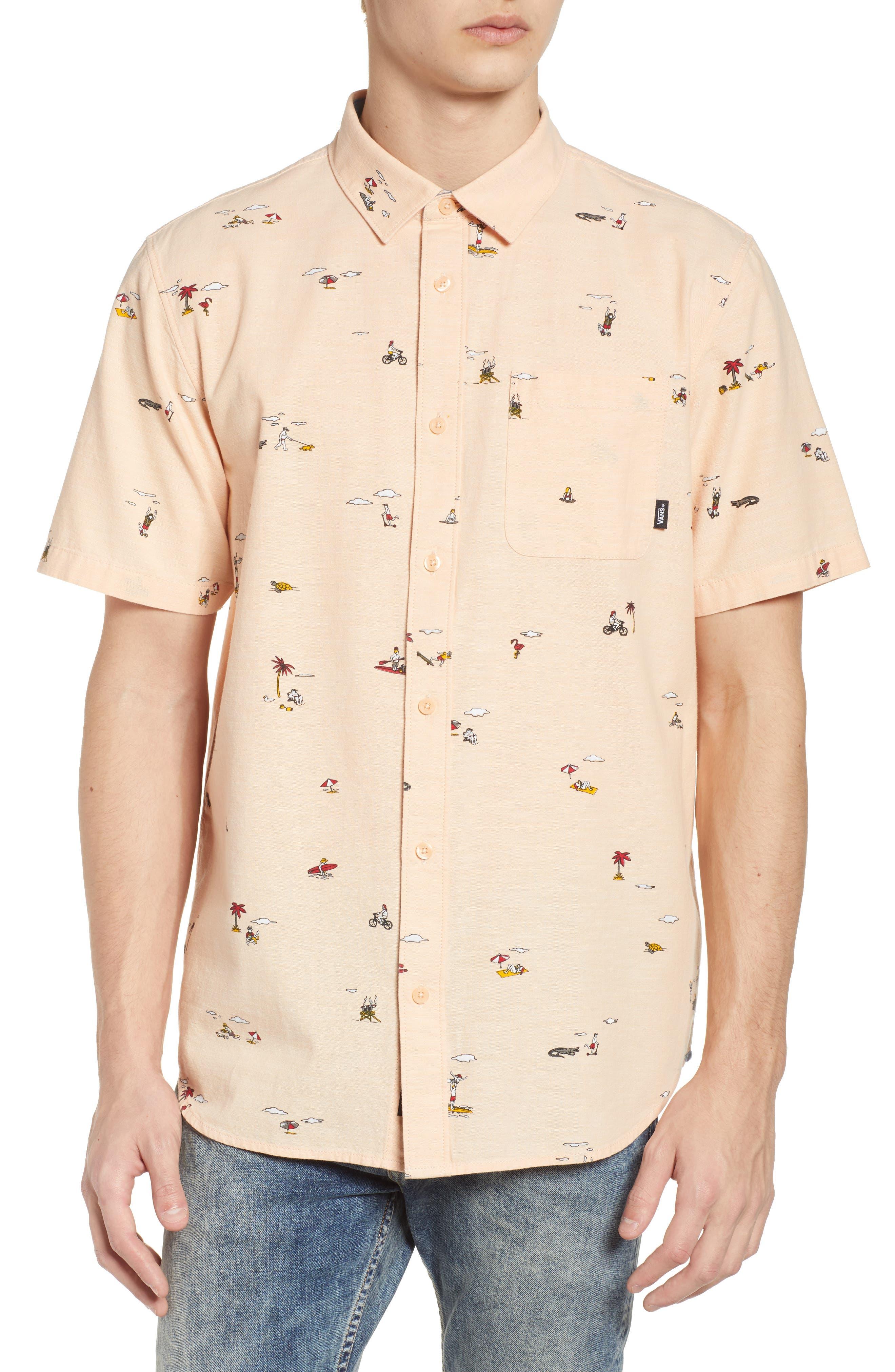 Tres Palmas Short Sleeve Shirt,                             Main thumbnail 1, color,                             Apricot Ice