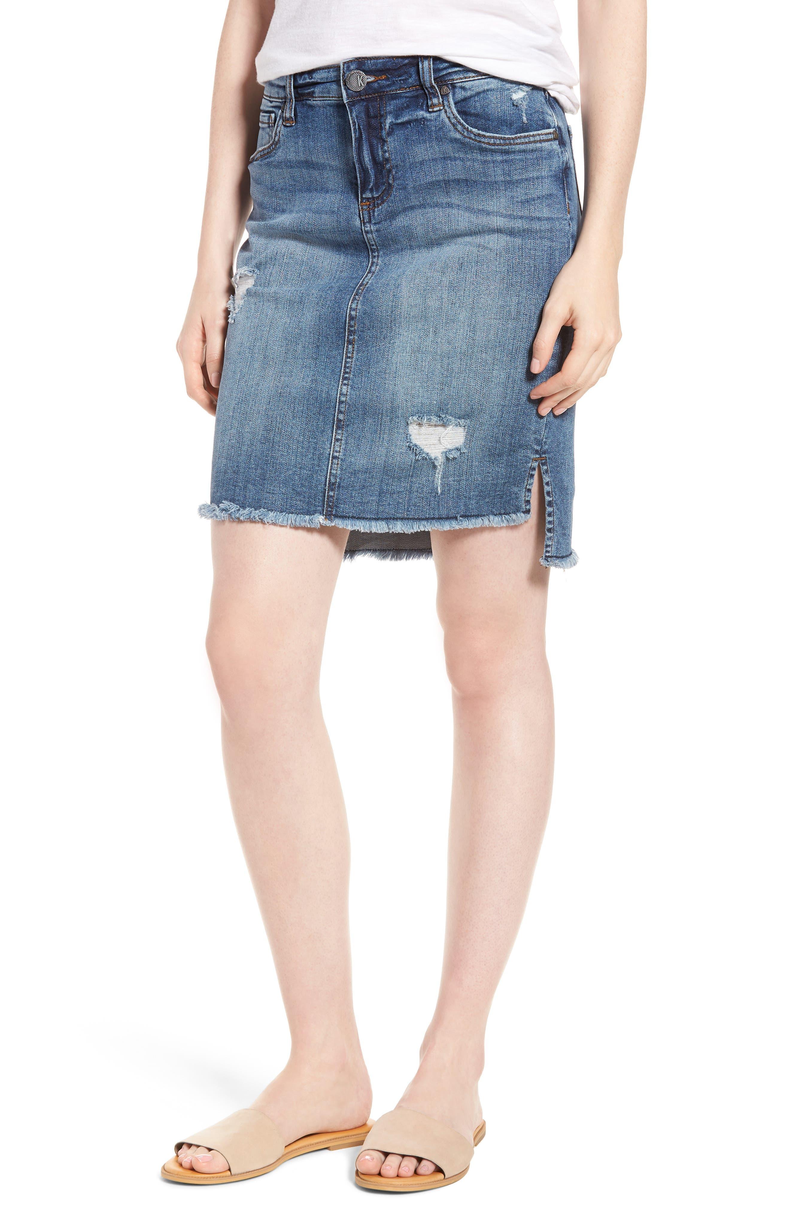 KUT from the Kloth Distressed Step Hem Denim Skirt,                         Main,                         color, Meditative