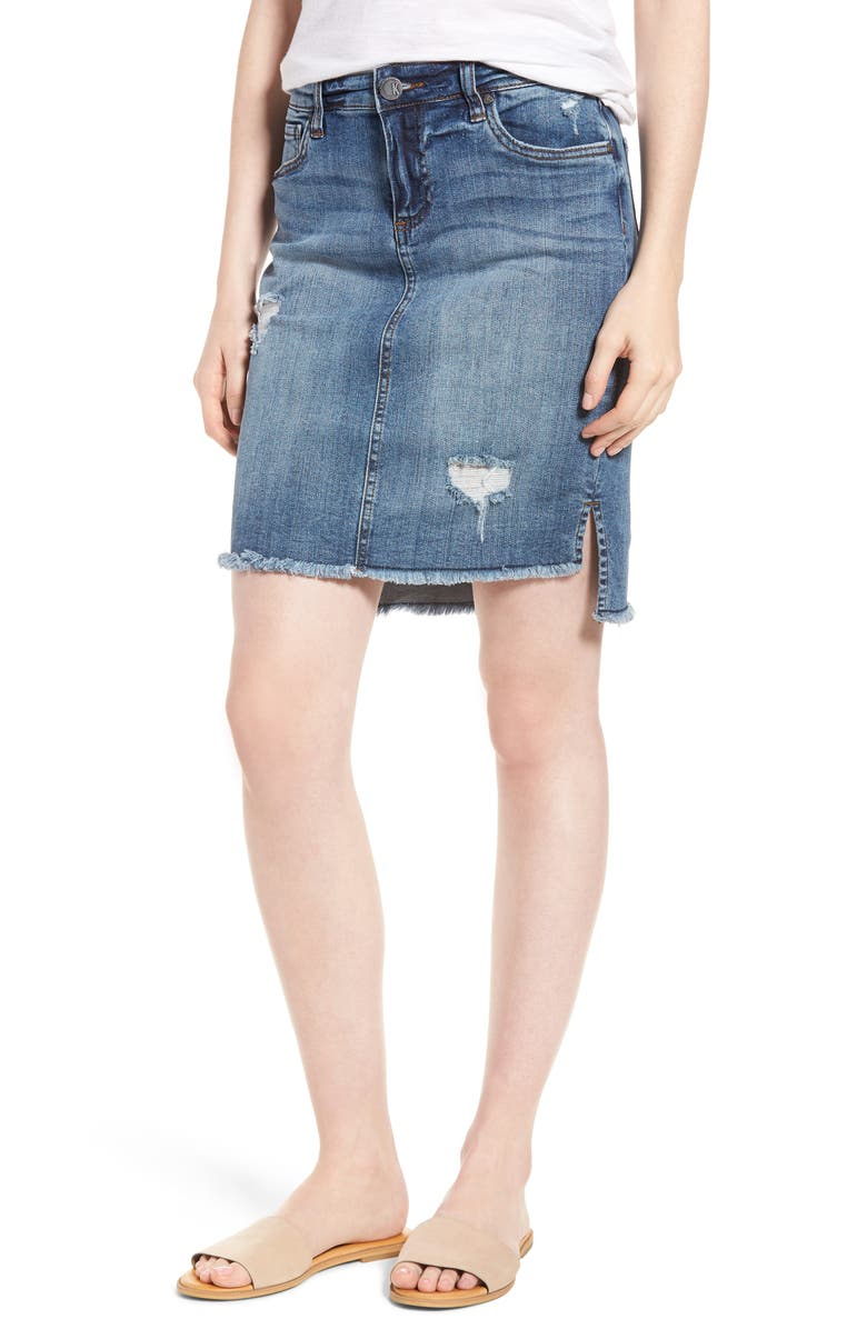 KUT from the Kloth Distressed Step Hem Denim Skirt