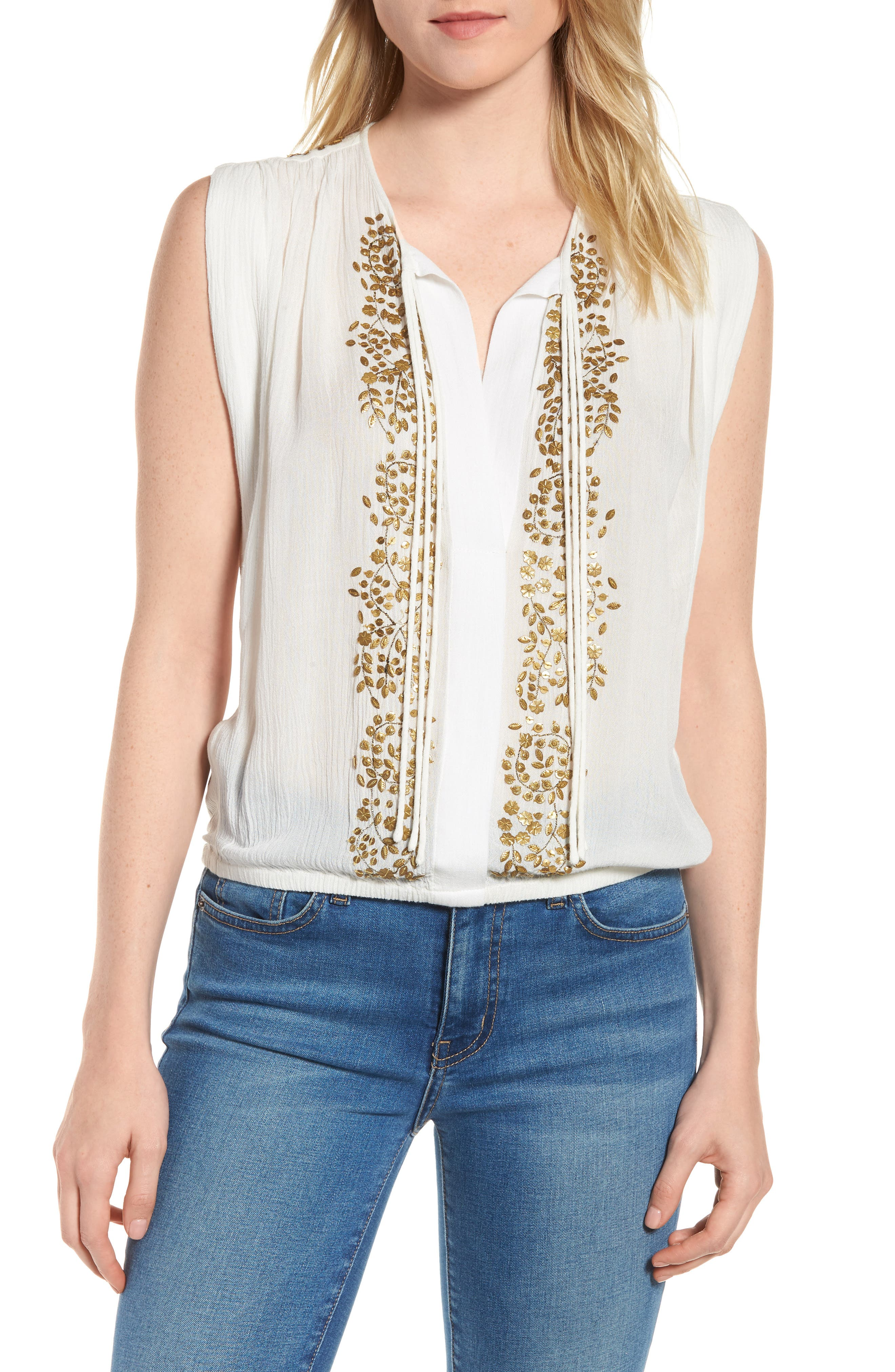 Helena Embellished Top,                         Main,                         color, Marshmallow