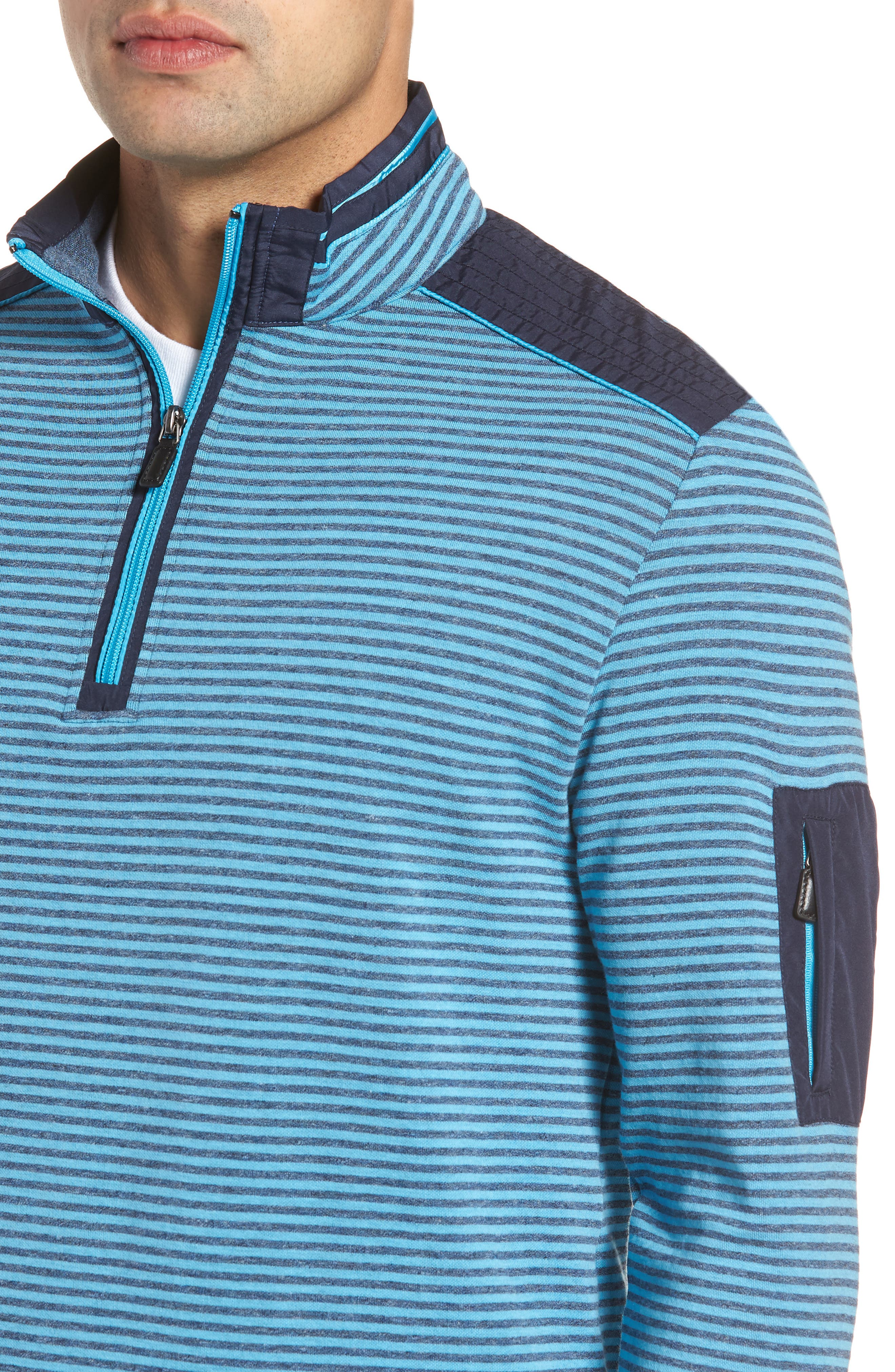 Regular Fit Stripe Quarter Zip Pullover,                             Alternate thumbnail 4, color,                             Sky