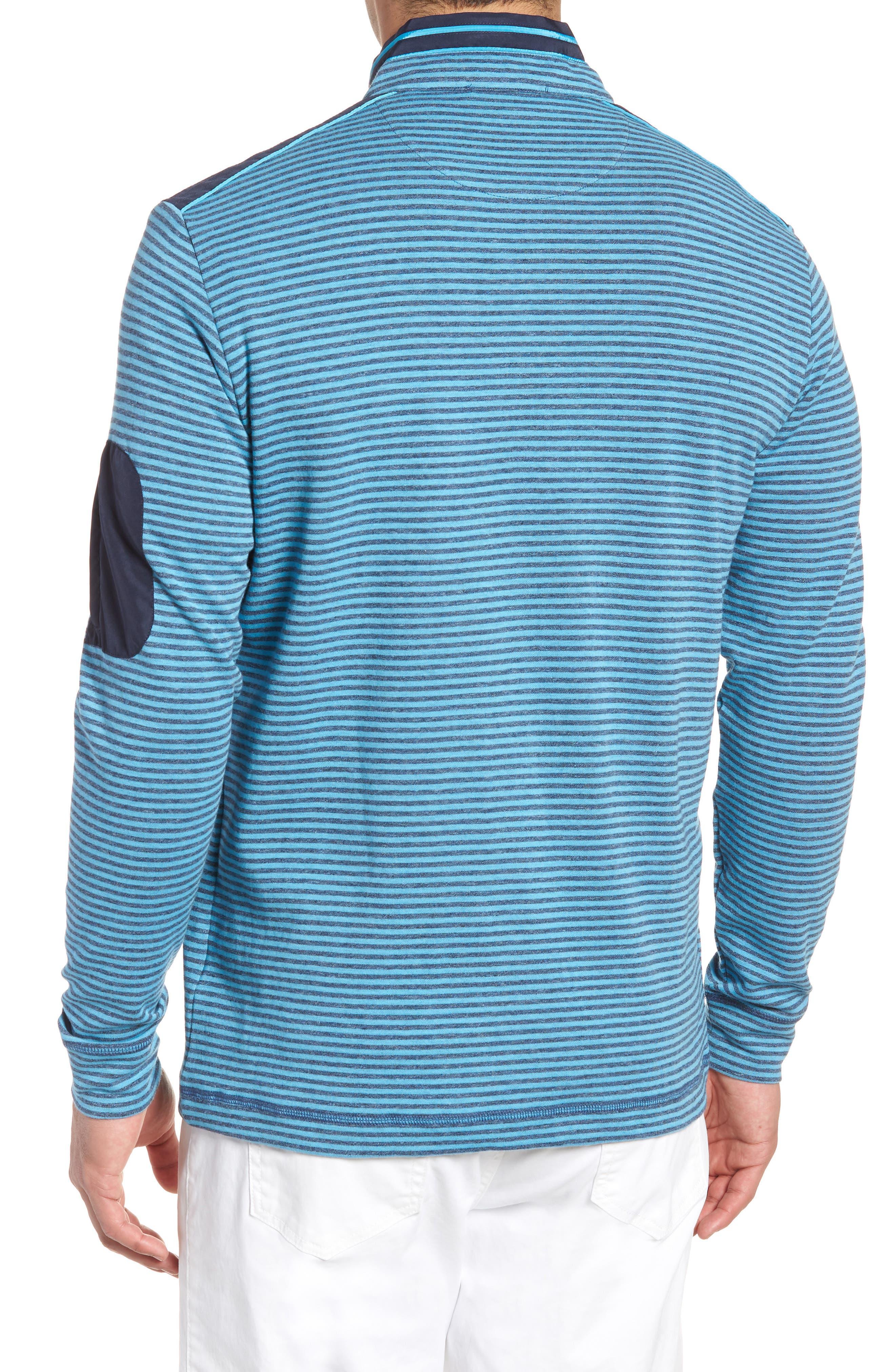 Regular Fit Stripe Quarter Zip Pullover,                             Alternate thumbnail 2, color,                             Sky