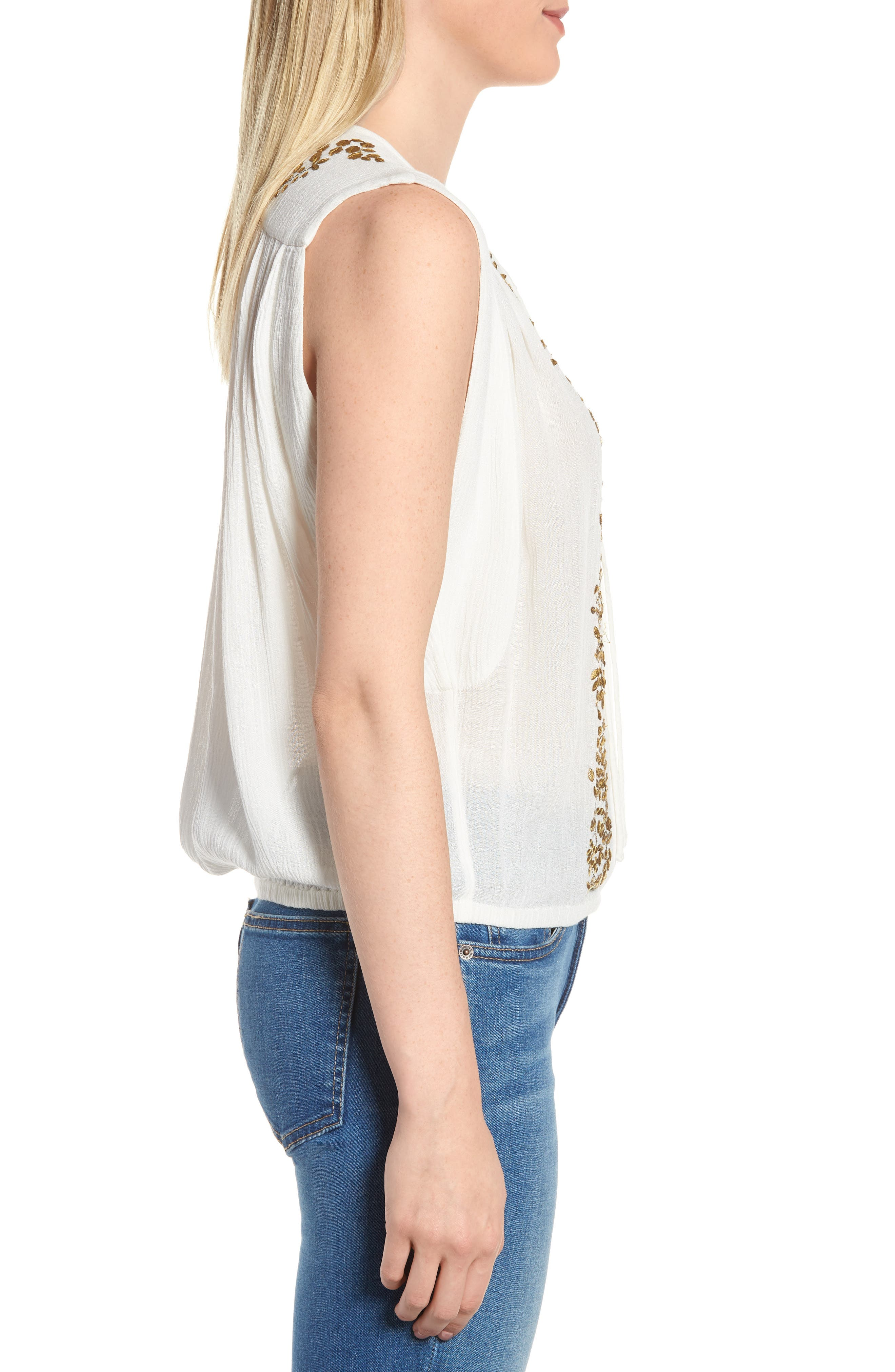 Helena Embellished Top,                             Alternate thumbnail 3, color,                             Marshmallow