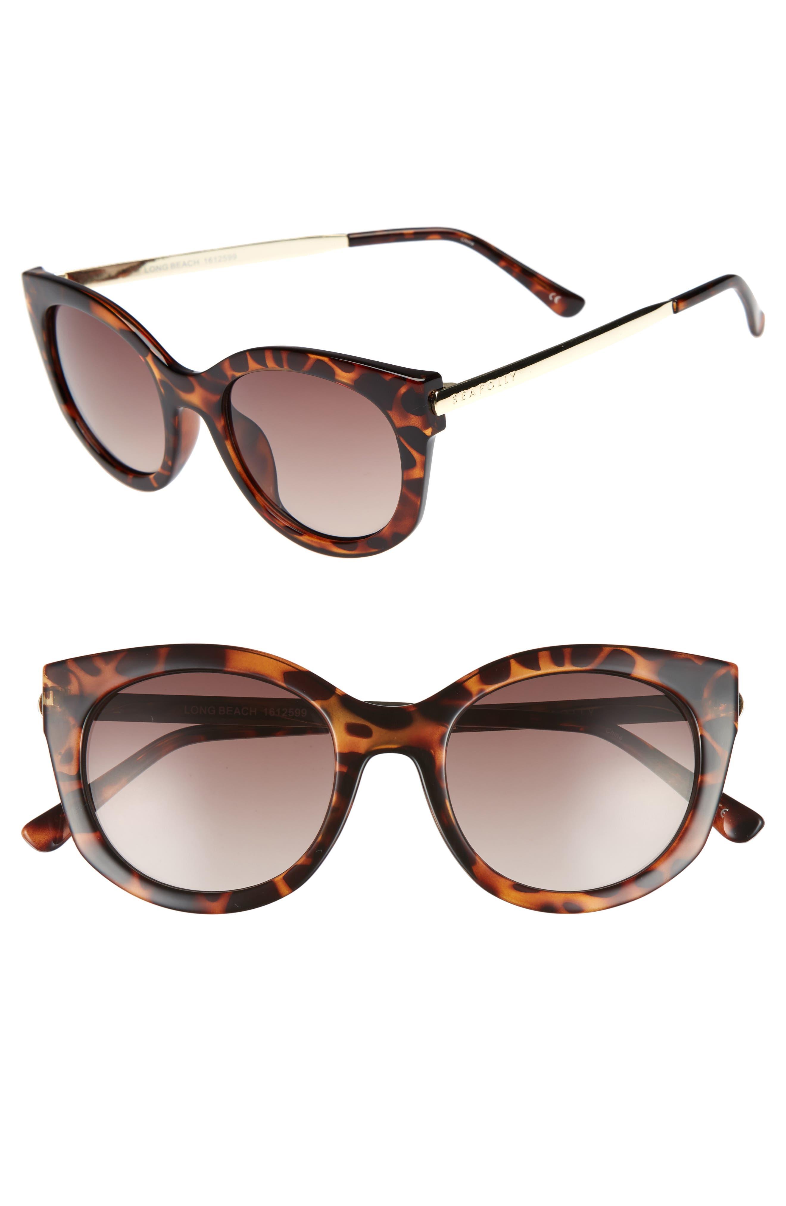 Long Beach 51mm Cat Eye Sunglasses,                             Main thumbnail 1, color,                             Dark Tort