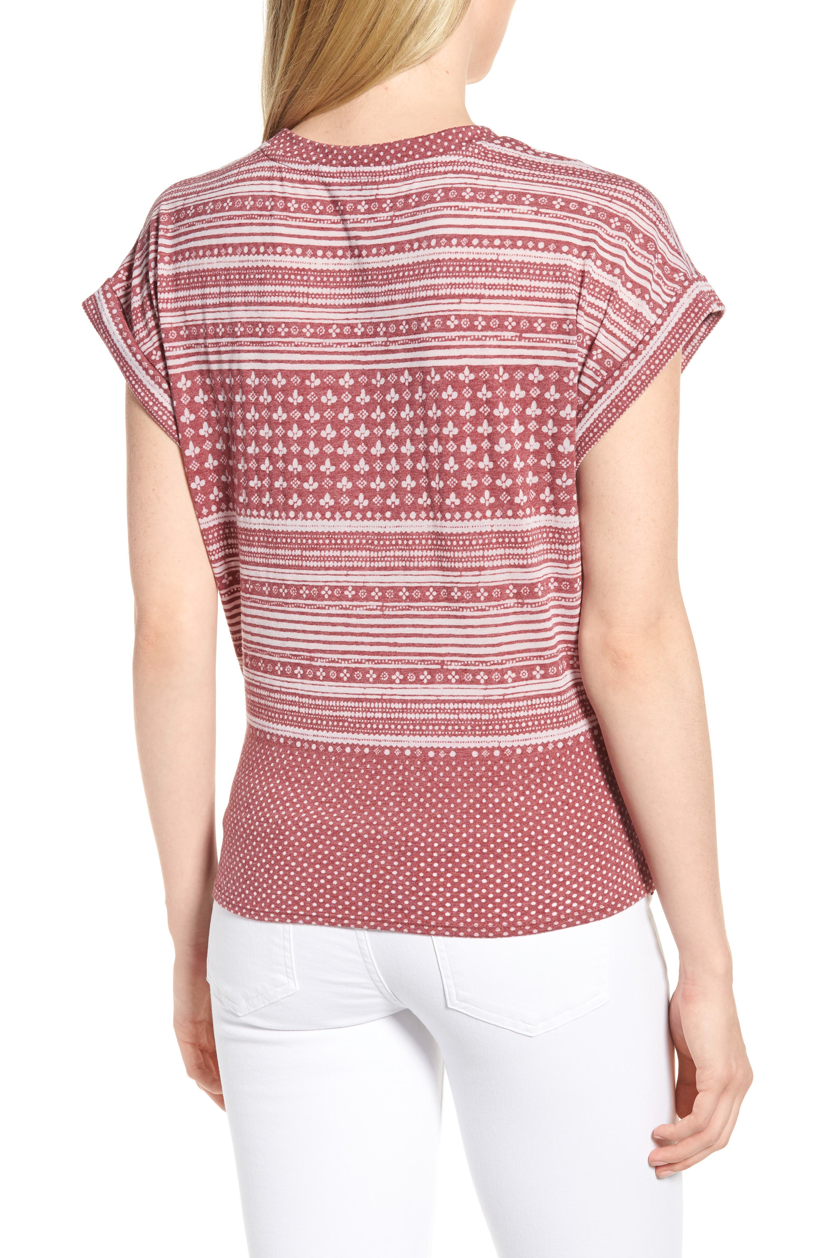 Twist Front Print Tee,                             Alternate thumbnail 2, color,                             Earth Red