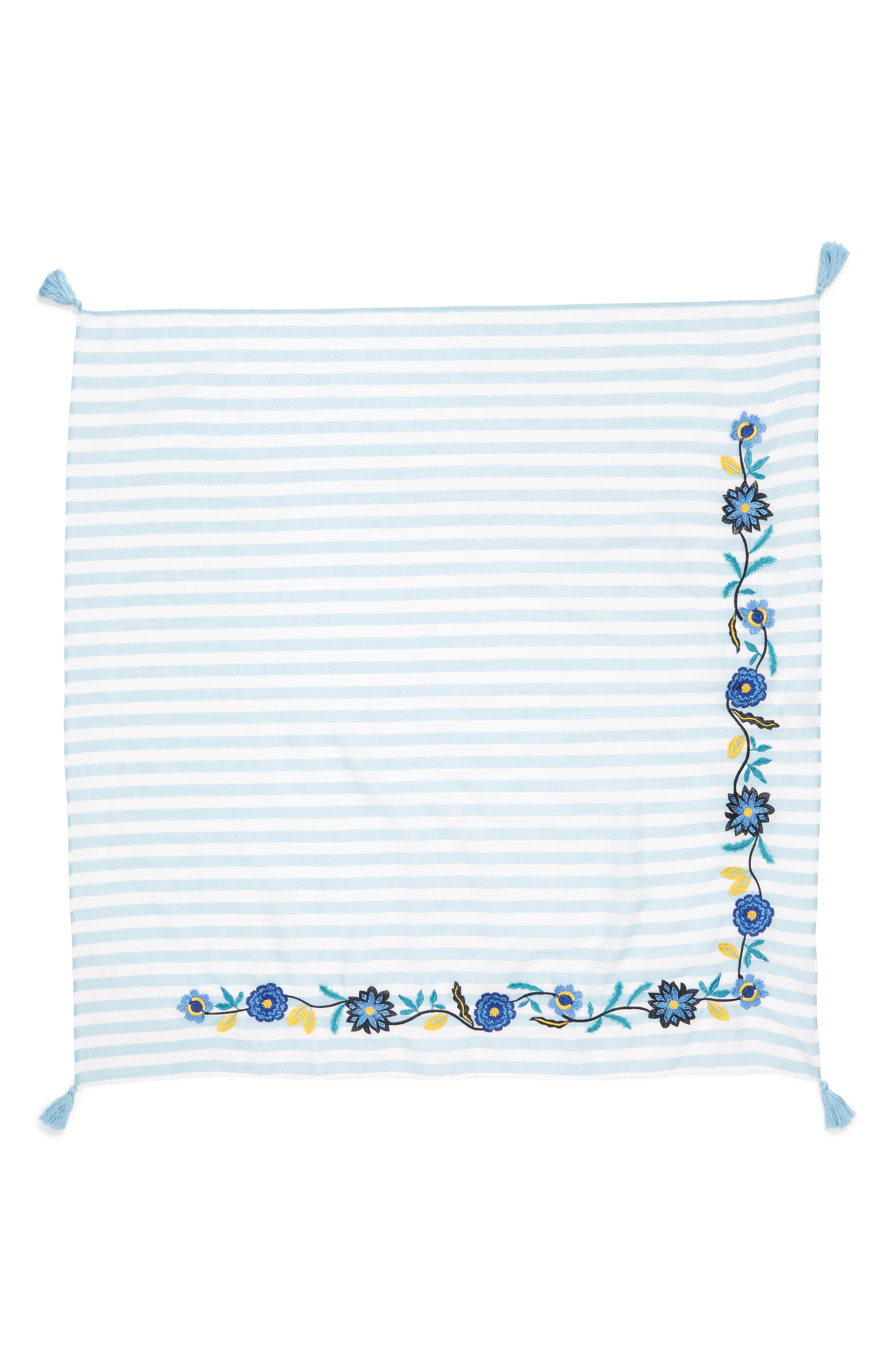 Embroidered Stripe Square Scarf,                             Alternate thumbnail 3, color,                             Blue