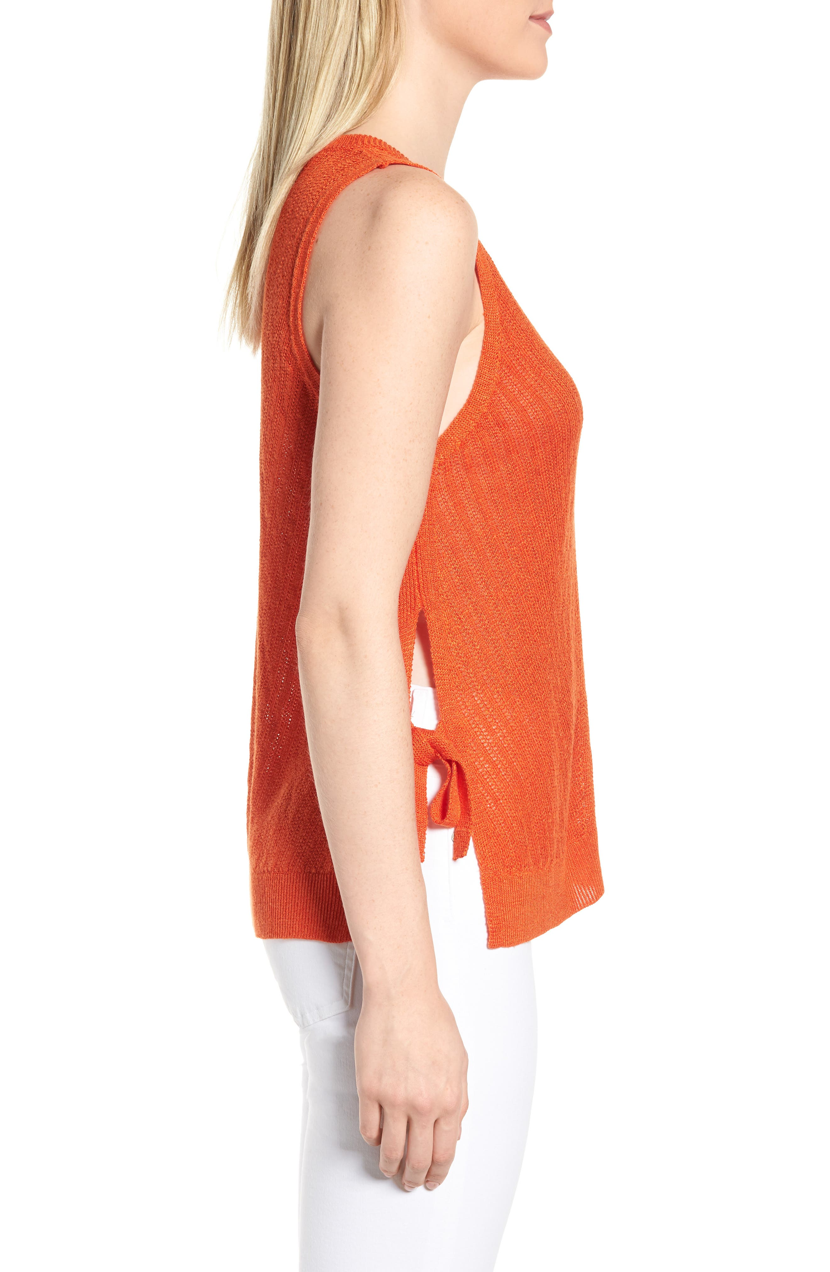 Side Tie Tank Sweater,                             Alternate thumbnail 3, color,                             Red Clay