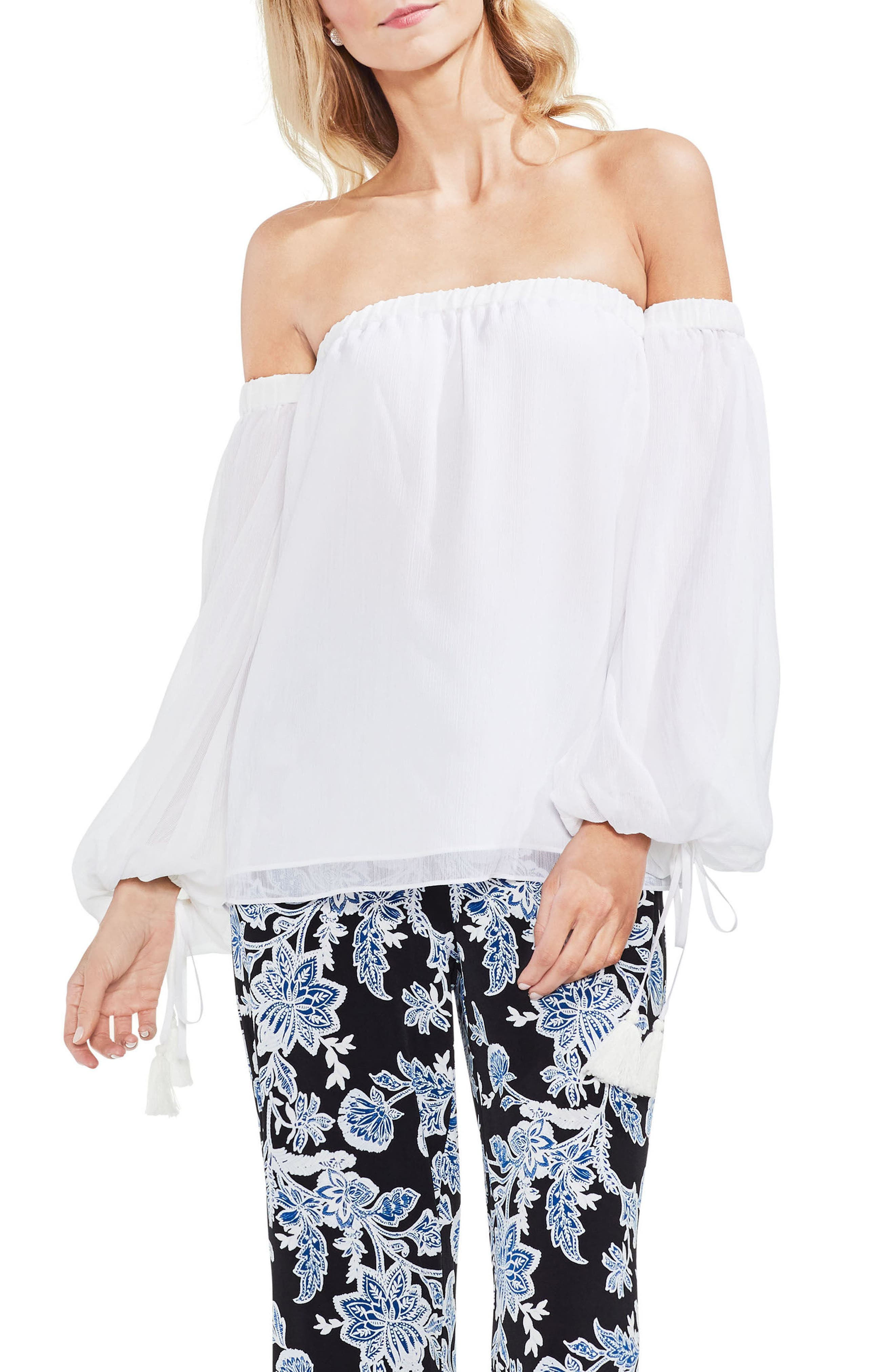 Off the Shoulder Bubble Sleeve Blouse,                         Main,                         color, Ultra White