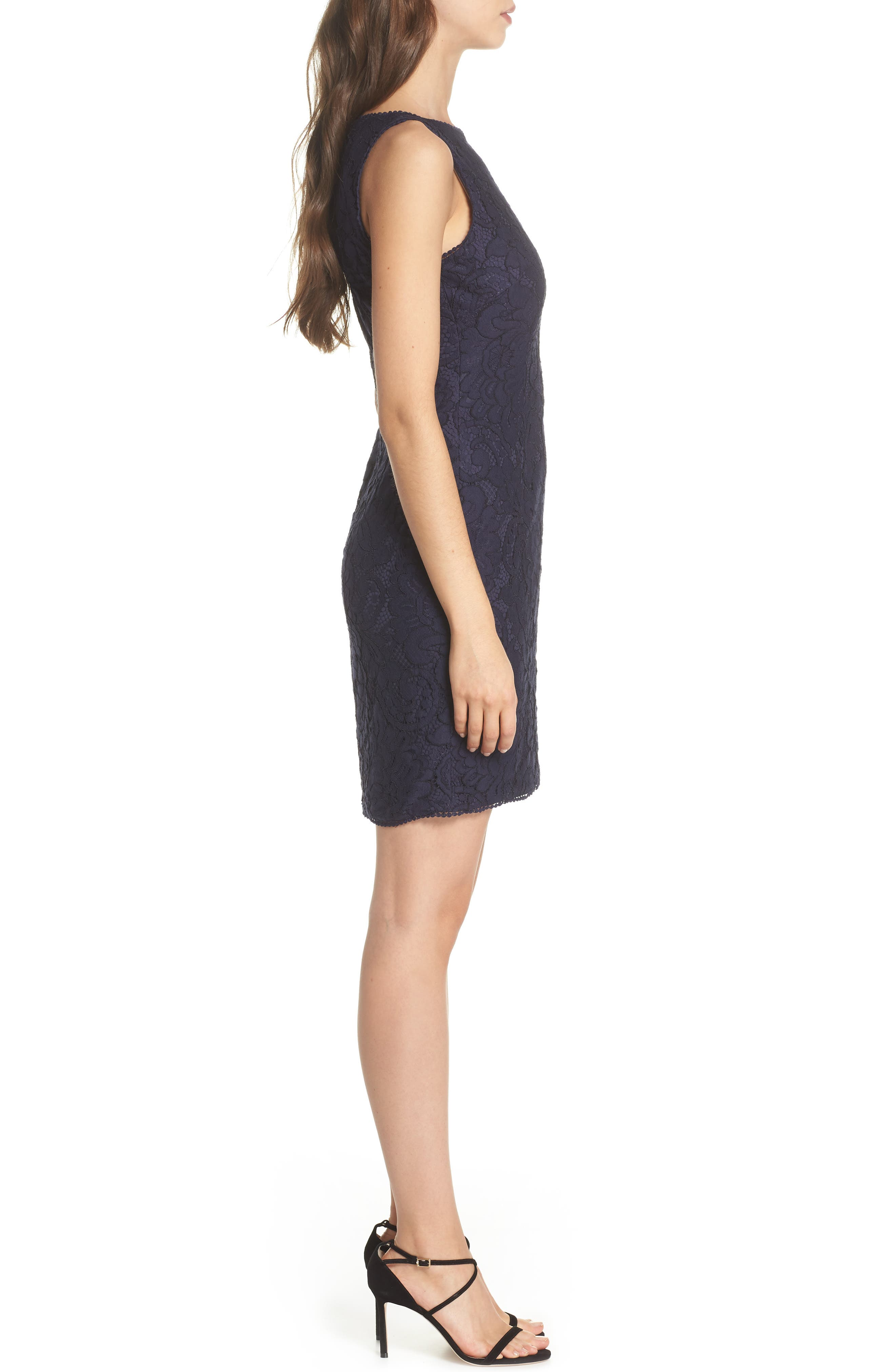 Lace Sheath Dress,                             Alternate thumbnail 3, color,                             Navy
