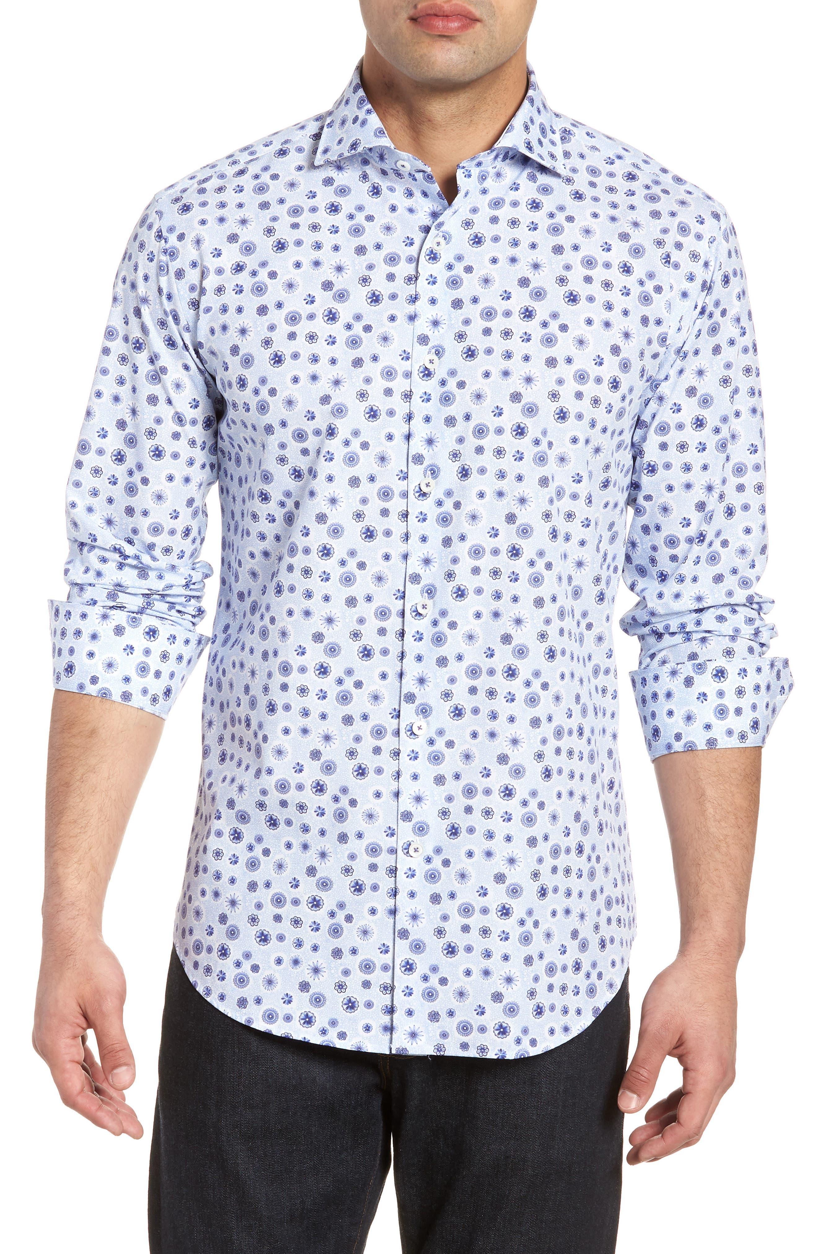 Classic Fit Woven Sport Shirt,                         Main,                         color, Sky