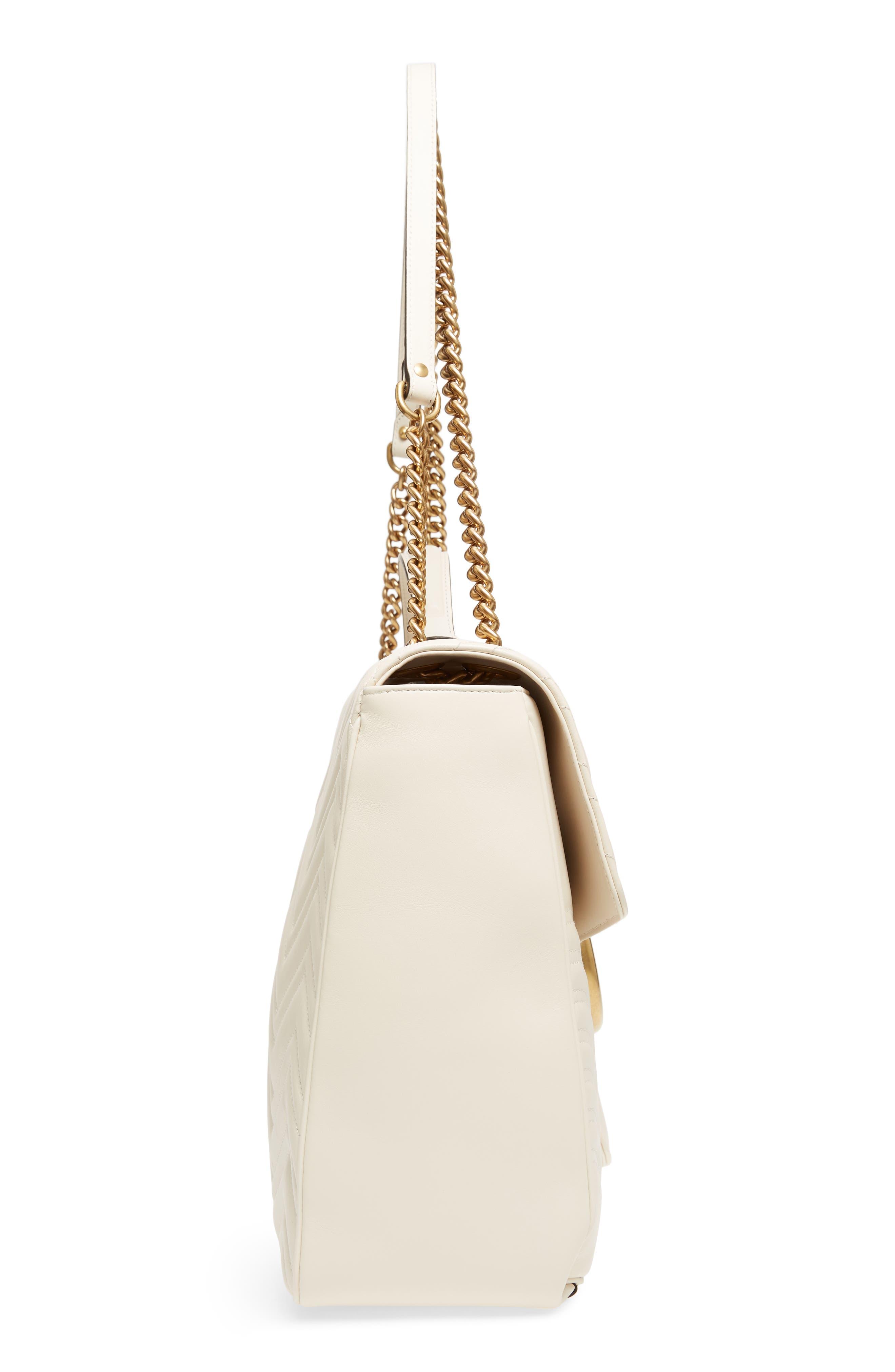 GG Marmont Maxi Matelassé Top Handle Shoulder Bag,                             Alternate thumbnail 5, color,                             White