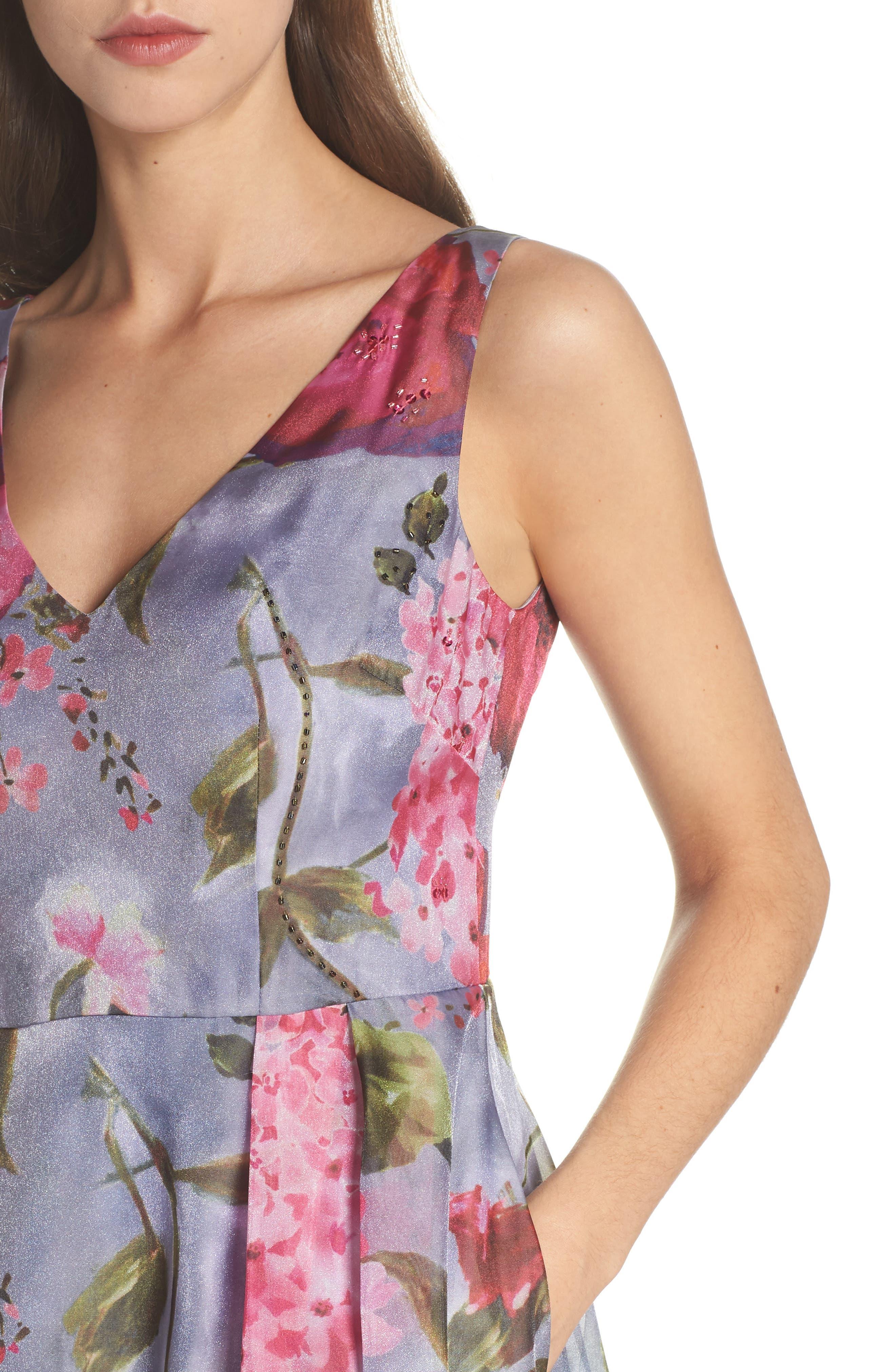 Flower Print Organza Gown,                             Alternate thumbnail 4, color,                             Dove Grey Multi