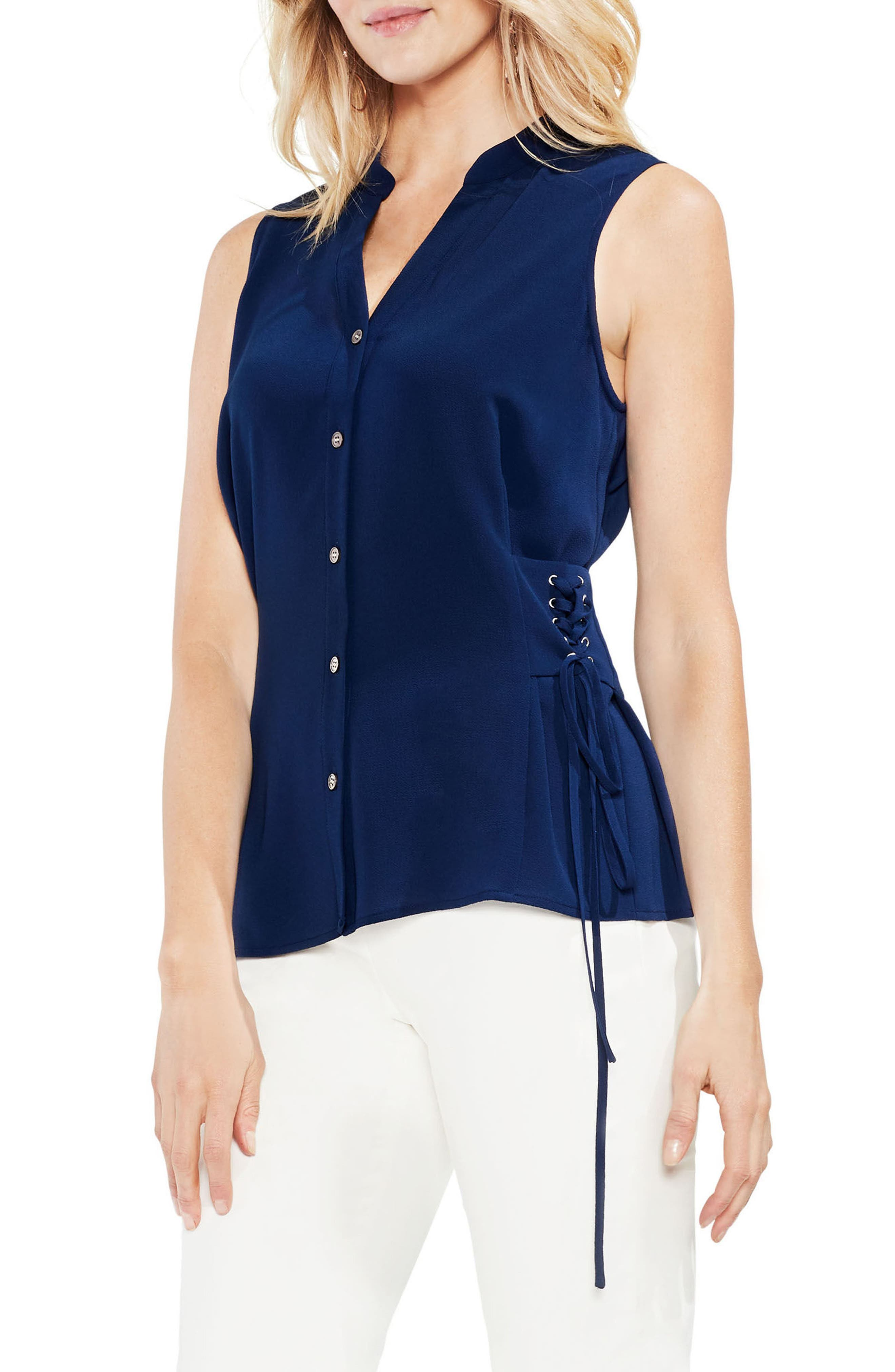 Side Lace Stretch Crepe Blouse,                         Main,                         color, High Tide