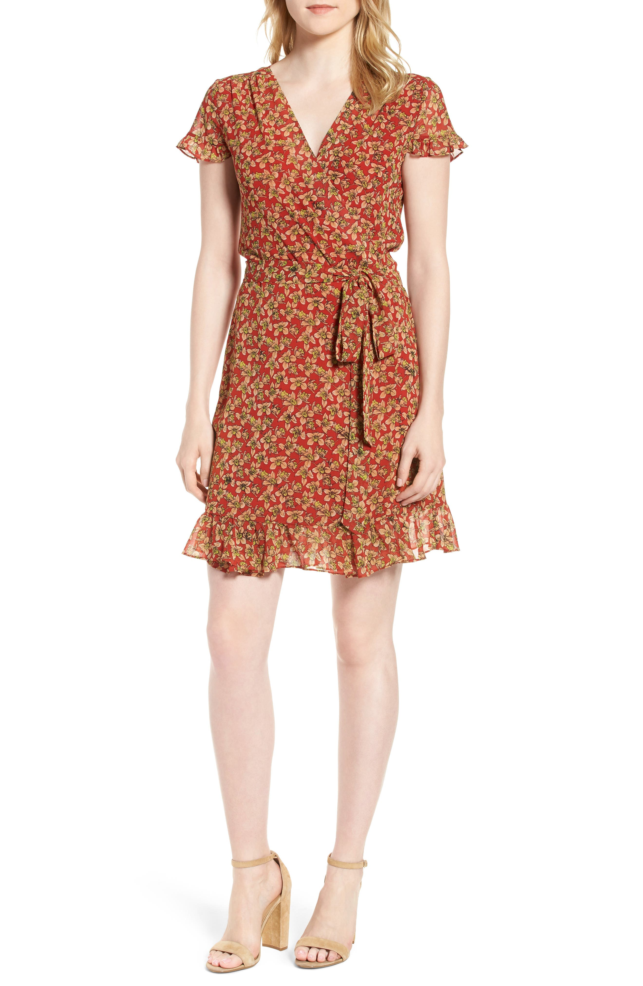 Ana Floral Wrap Dress,                             Main thumbnail 1, color,                             Red Multi