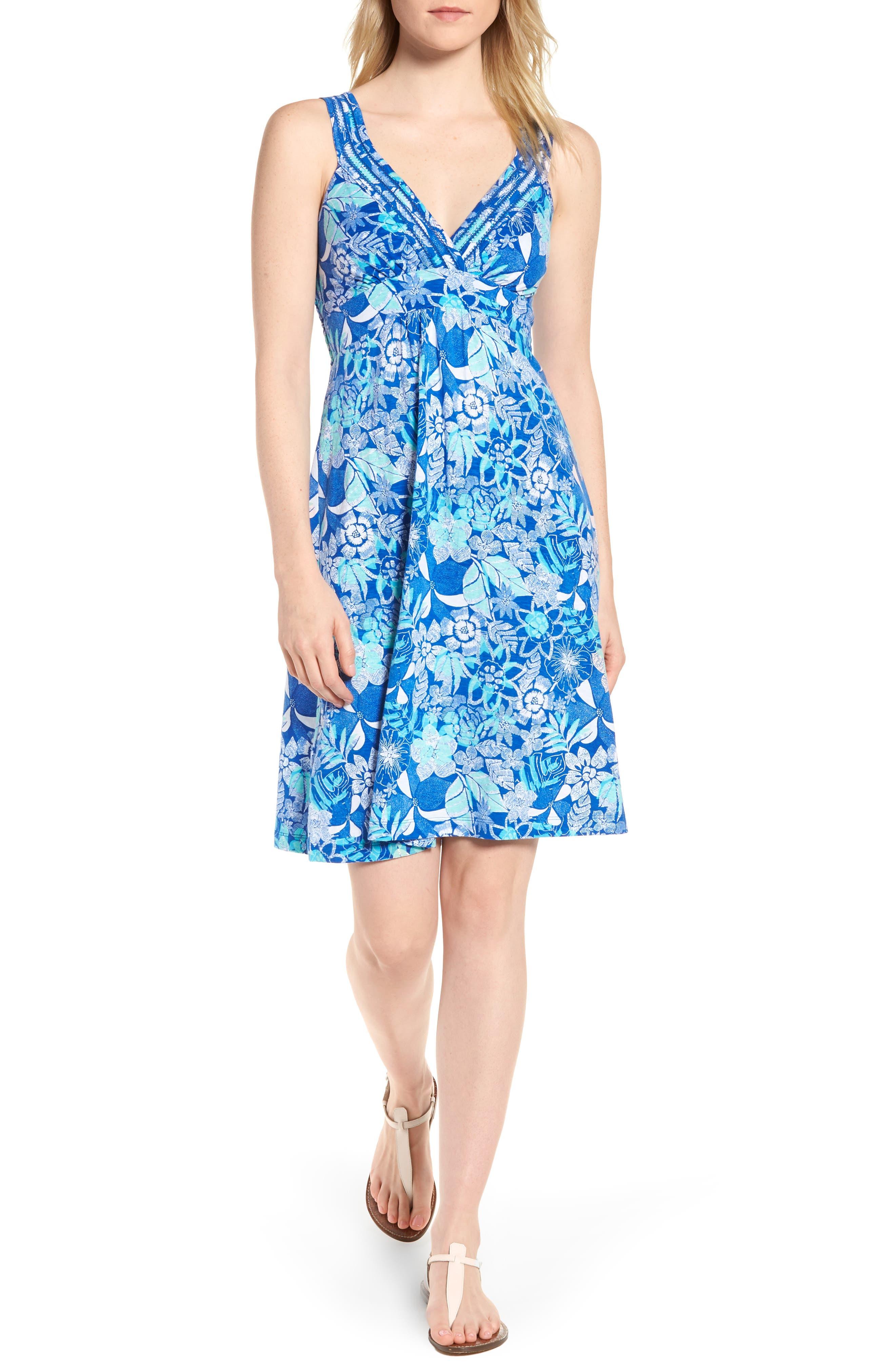 Boardwalk Blooms A-Line Dress,                         Main,                         color, Cobalt