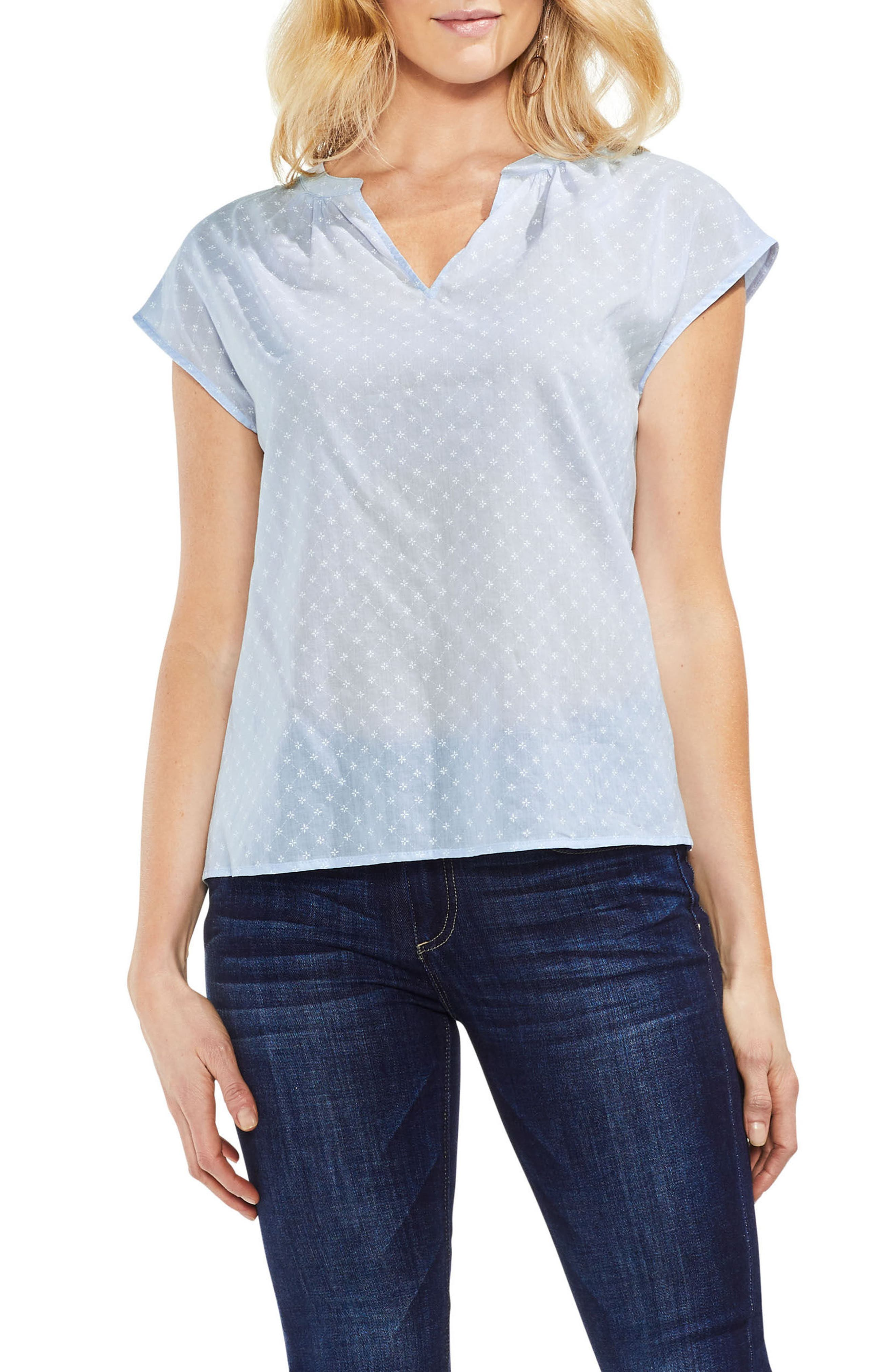 Floral Embroidered Top,                         Main,                         color, Dew Blue