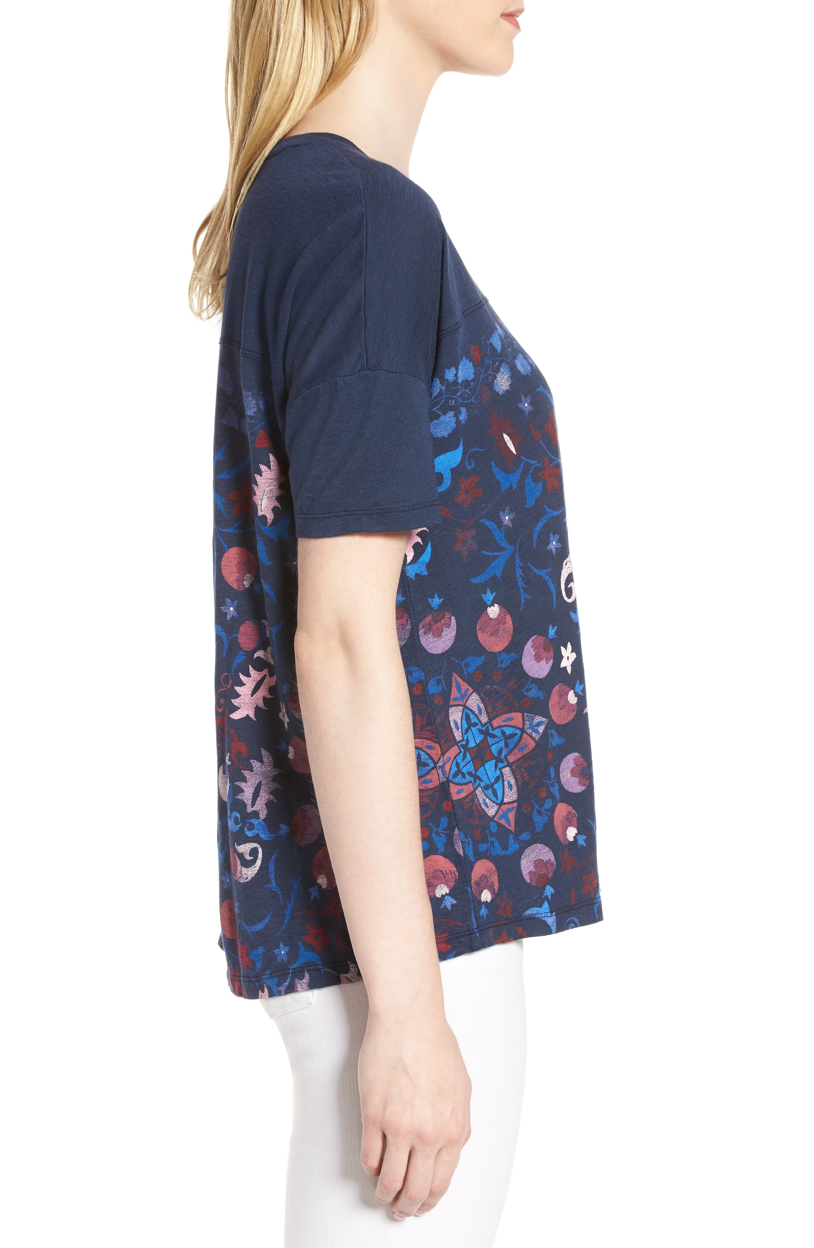 Floral Print Tee,                             Alternate thumbnail 3, color,                             American Navy