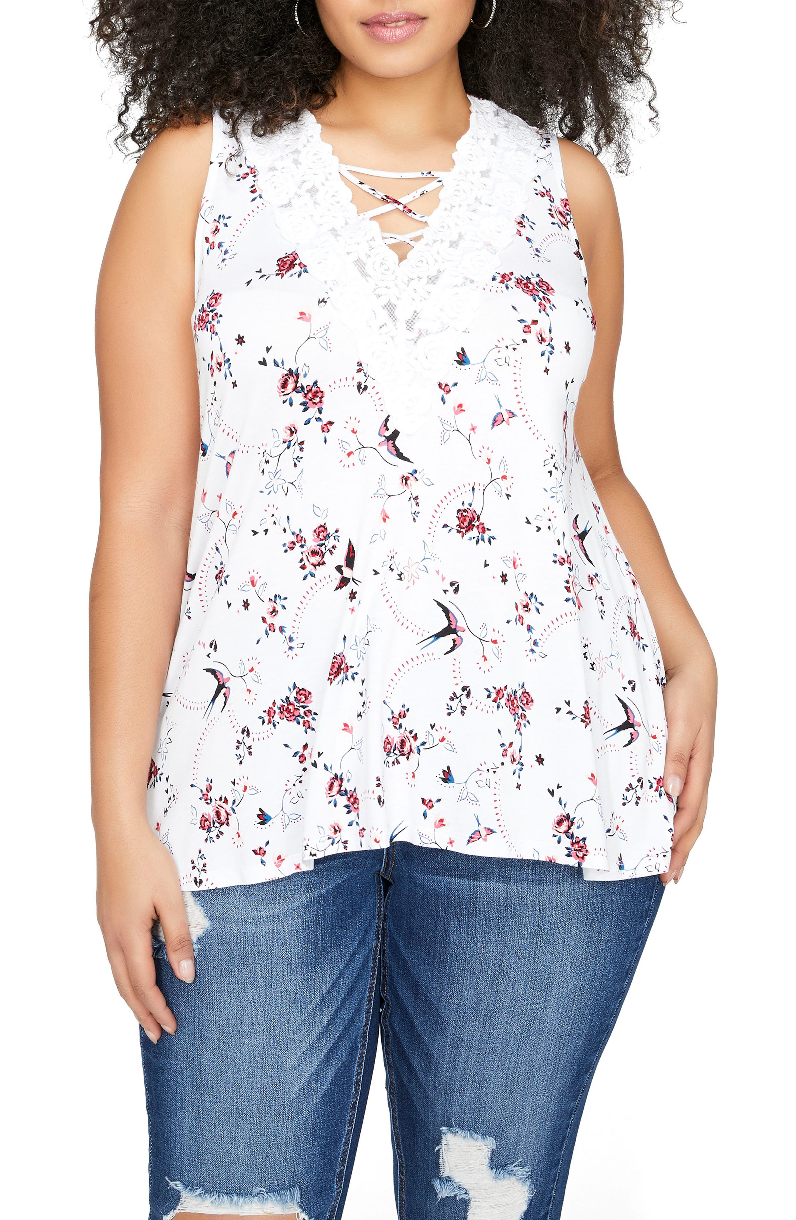 Floral Lace & Cage Top,                             Main thumbnail 1, color,                             White Birds Floral Combo