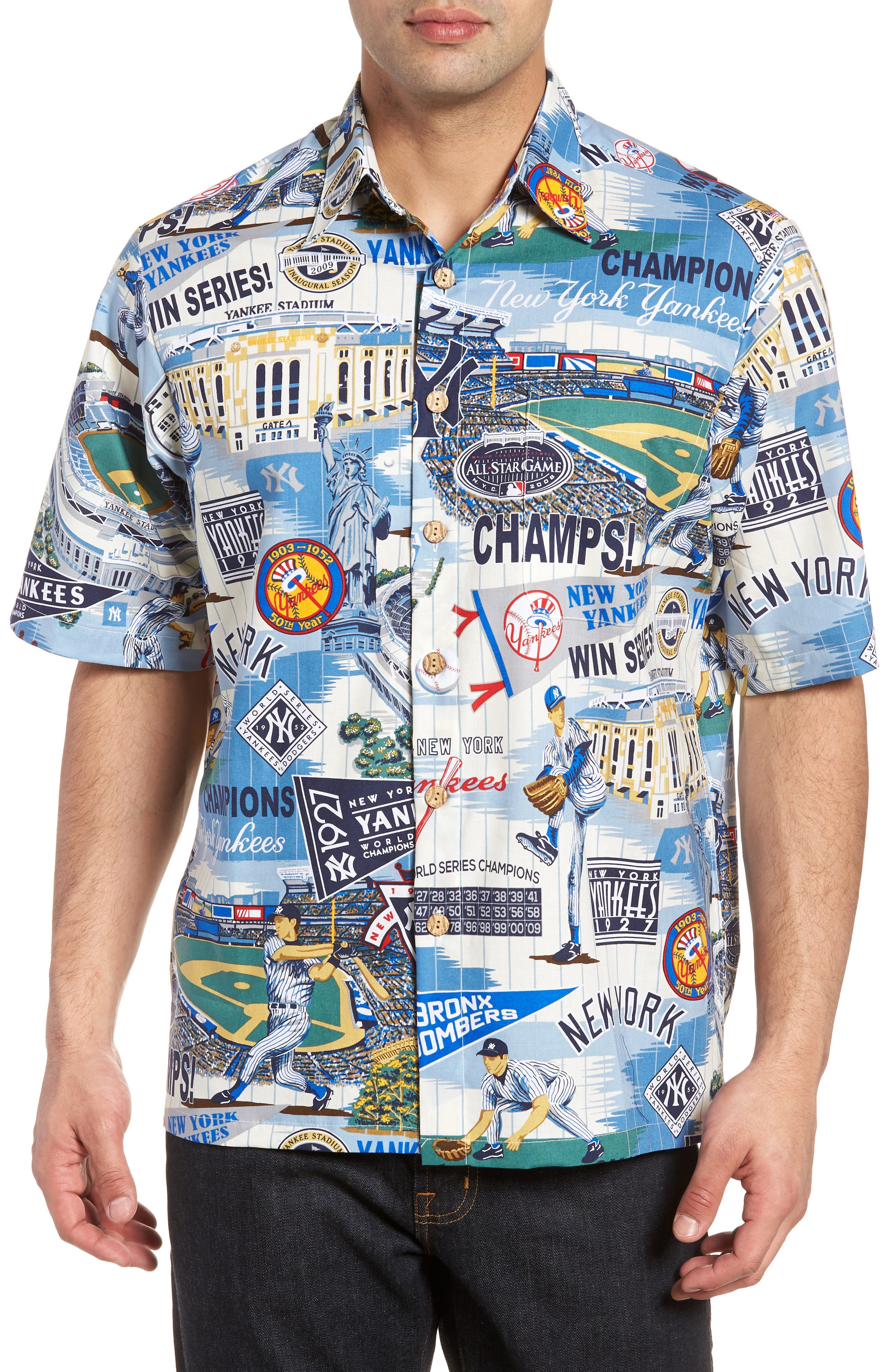 New York Yankees Classic Fit Camp Shirt,                         Main,                         color, Scenic