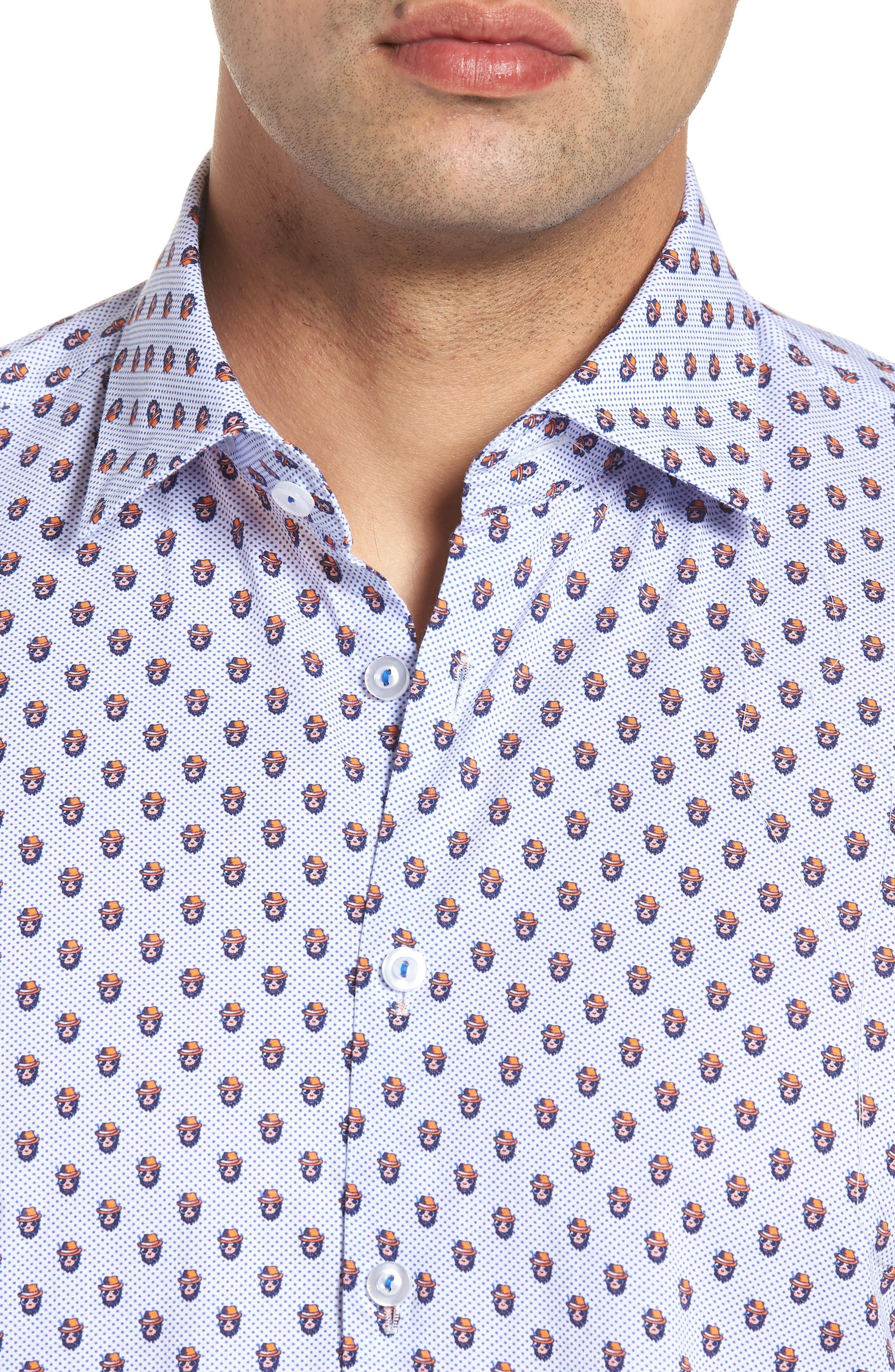 Contemporary Fit Monkey Print Sport Shirt,                             Alternate thumbnail 4, color,                             Orange