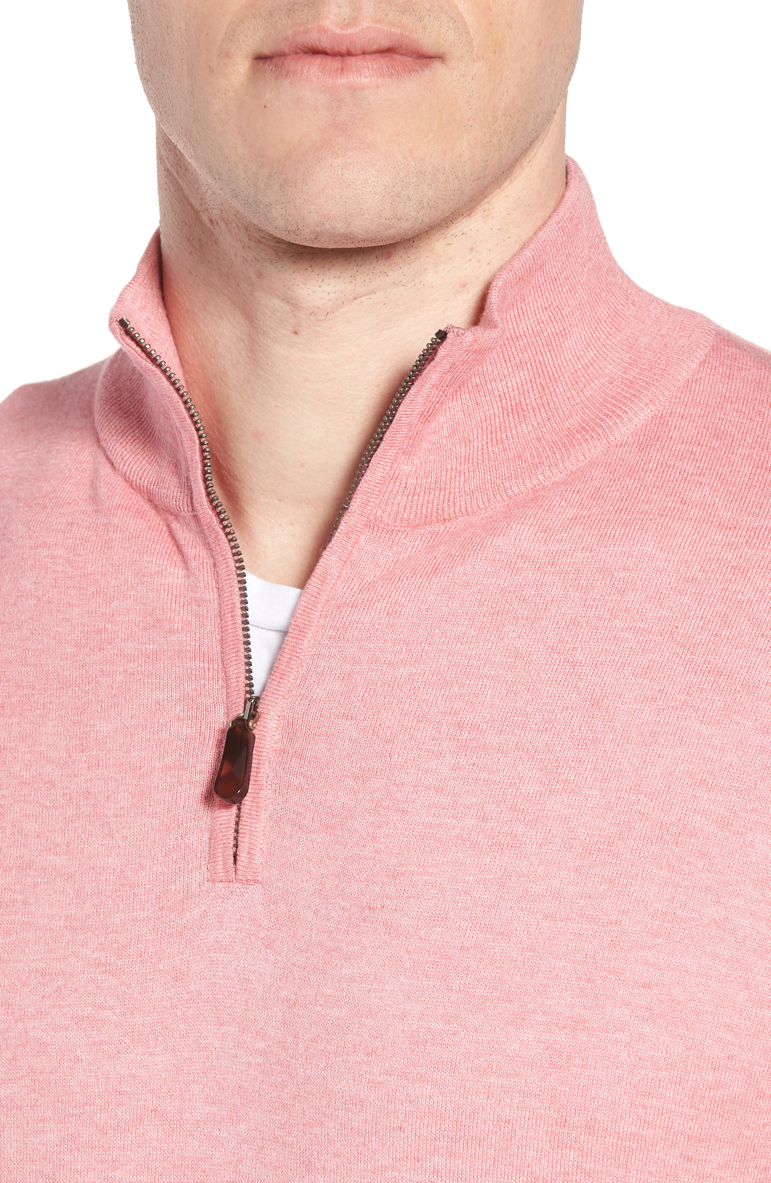 Cotton & Silk Quarter Zip Pullover,                             Alternate thumbnail 4, color,                             Pink