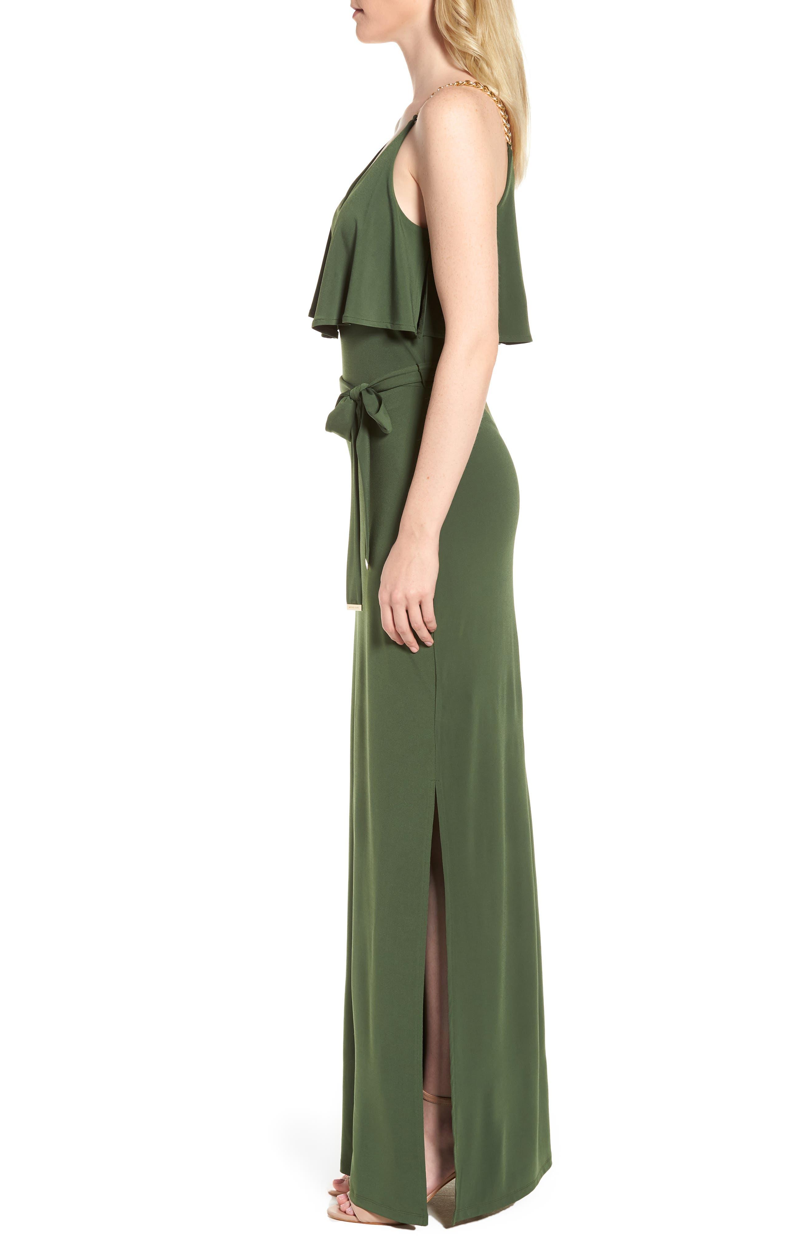 Chain Strap Popover Maxi Dress,                             Alternate thumbnail 3, color,                             Jade