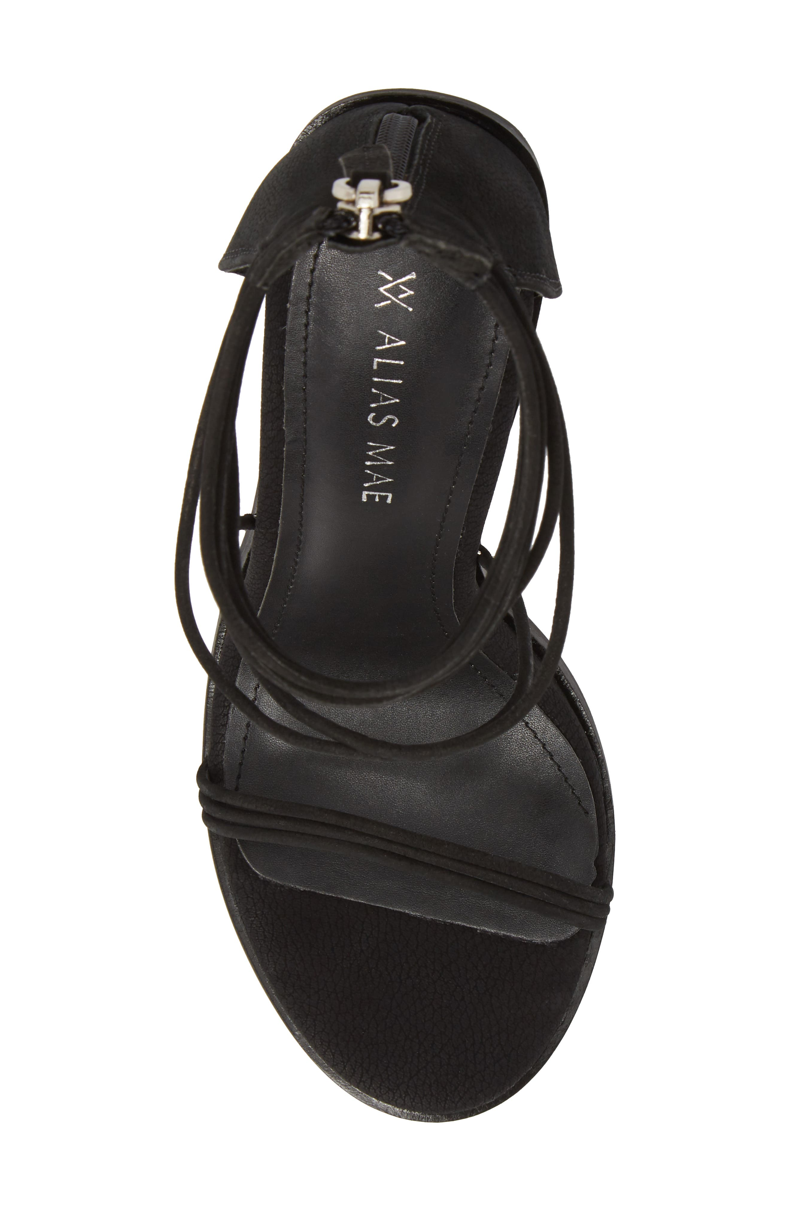 Aflux Tall Strappy Sandal,                             Alternate thumbnail 4, color,                             Black Nubuck Leather