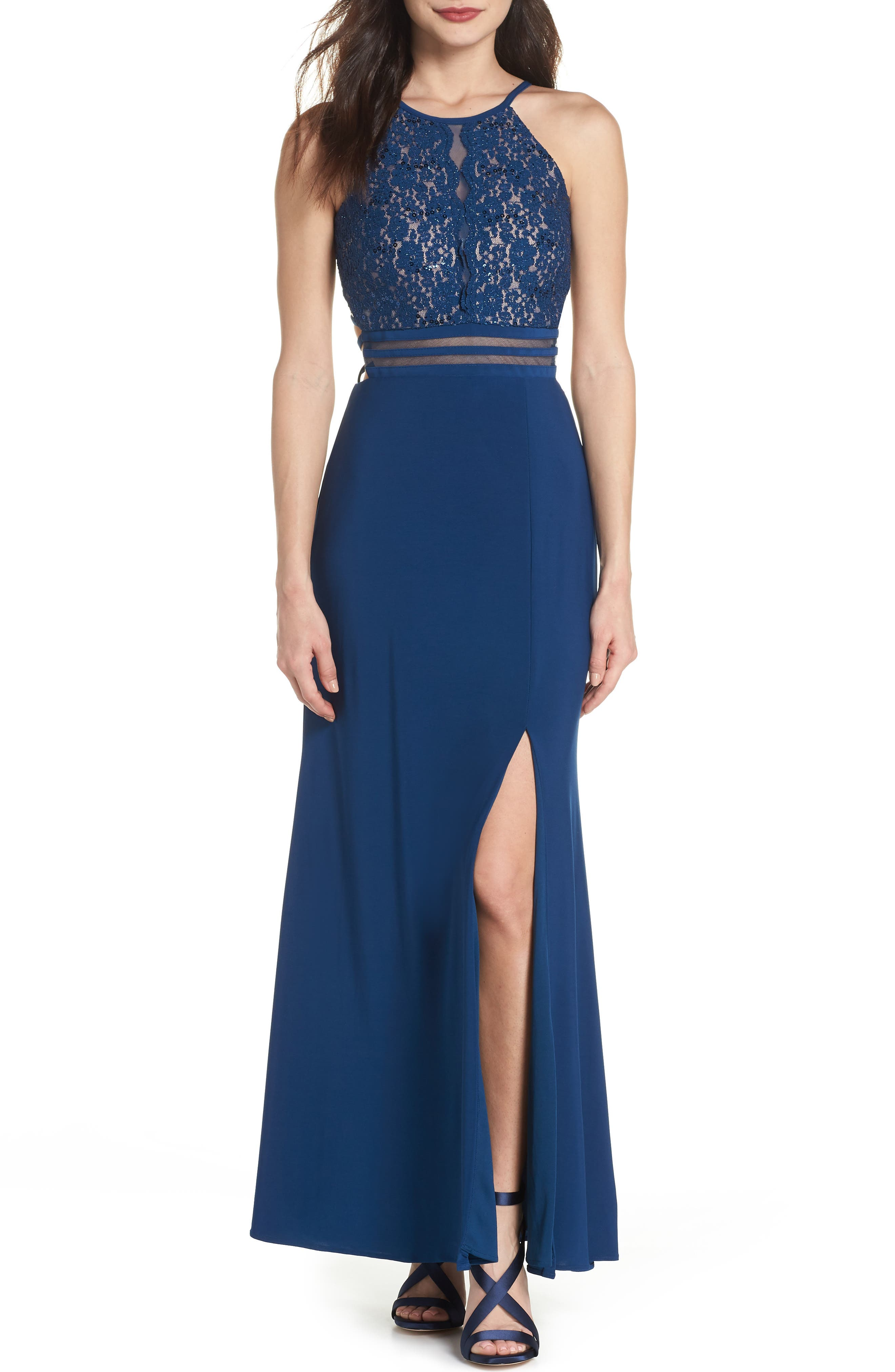 Strappy Lace Bodice Gown,                             Main thumbnail 1, color,                             Peacock / Nude