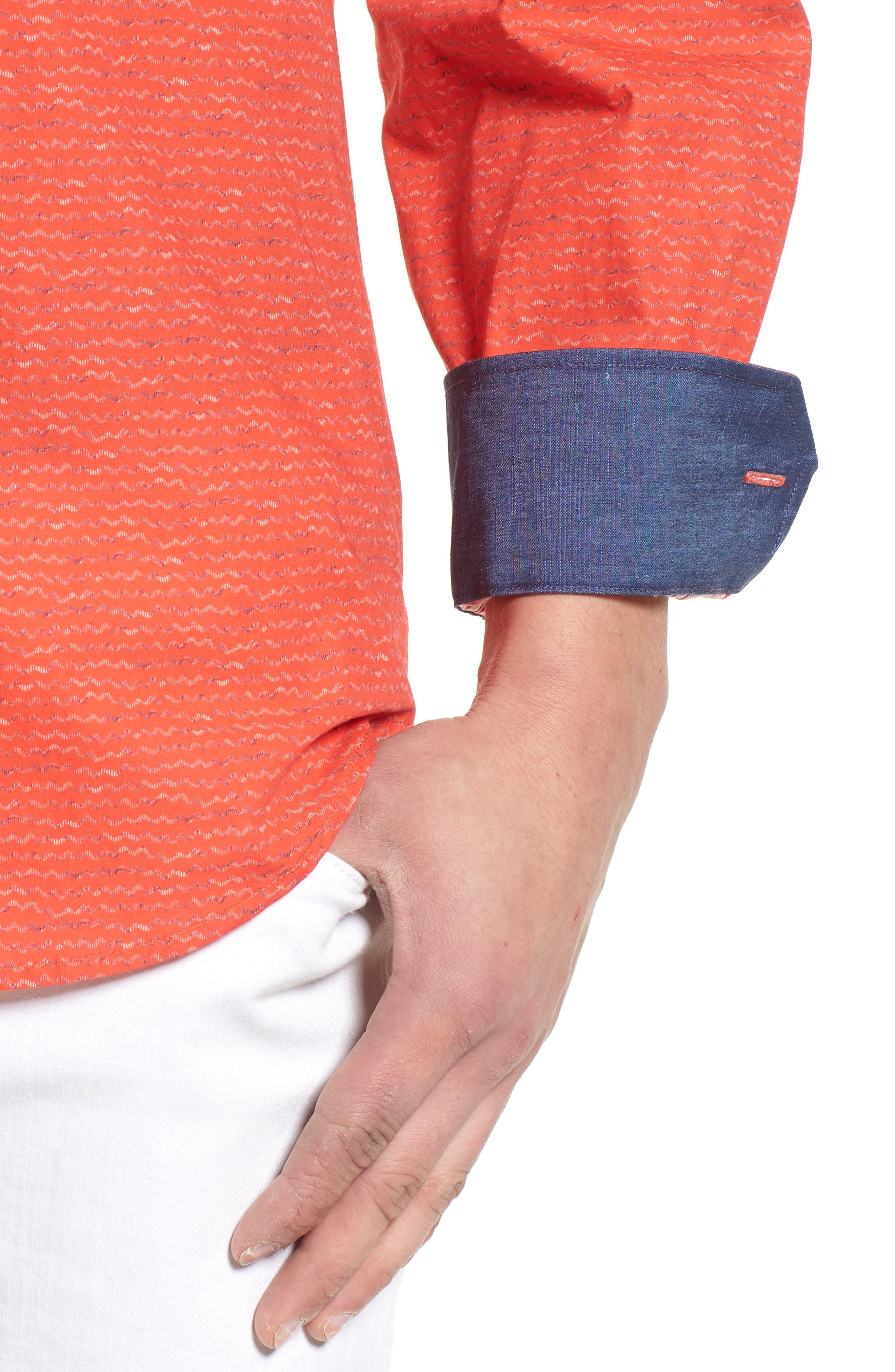 Classic Fit Woven Sport Shirt,                             Alternate thumbnail 4, color,                             Cherry