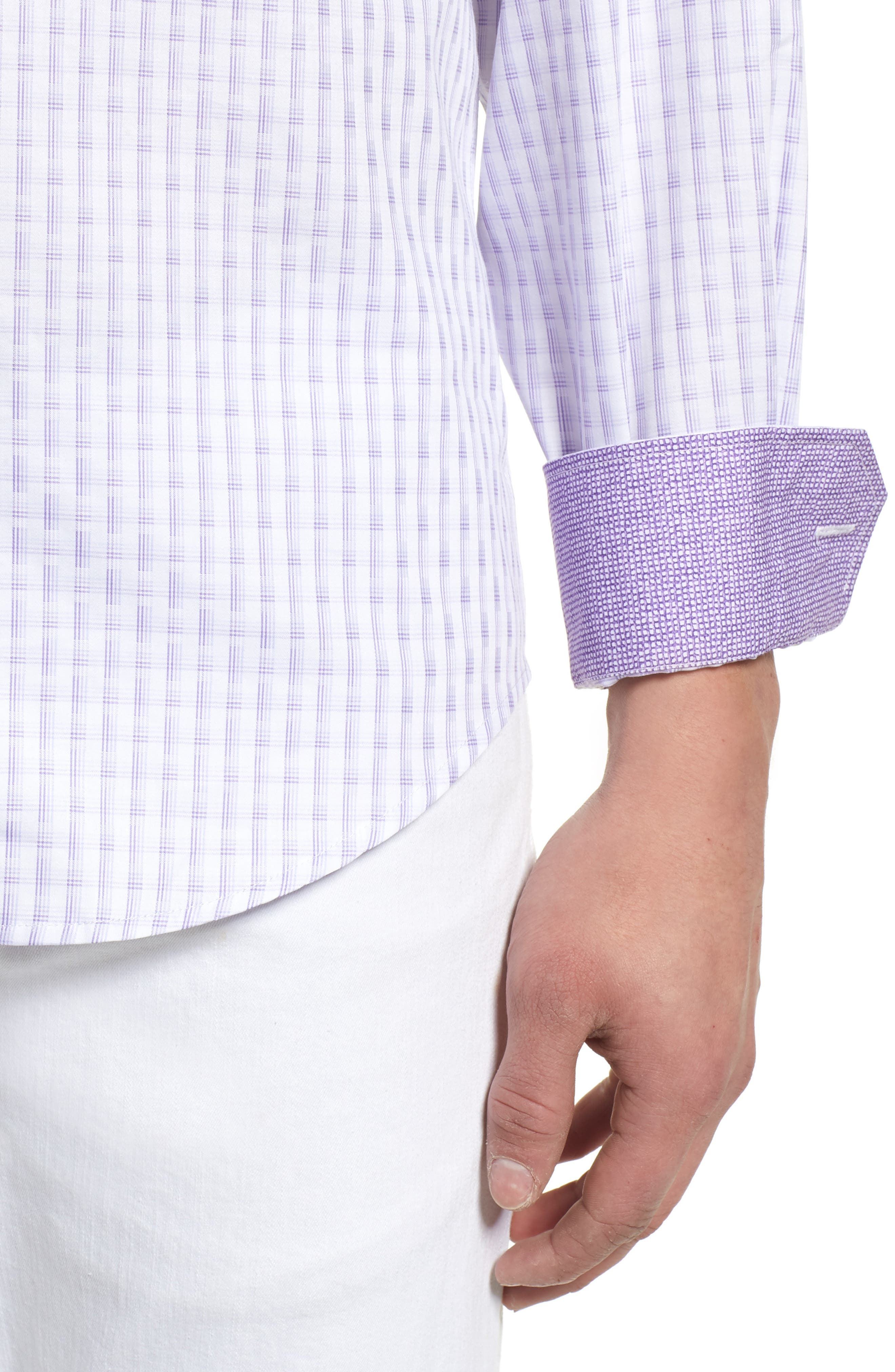 Modern Check Classic Fit Sport Shirt,                             Alternate thumbnail 4, color,                             Lilac