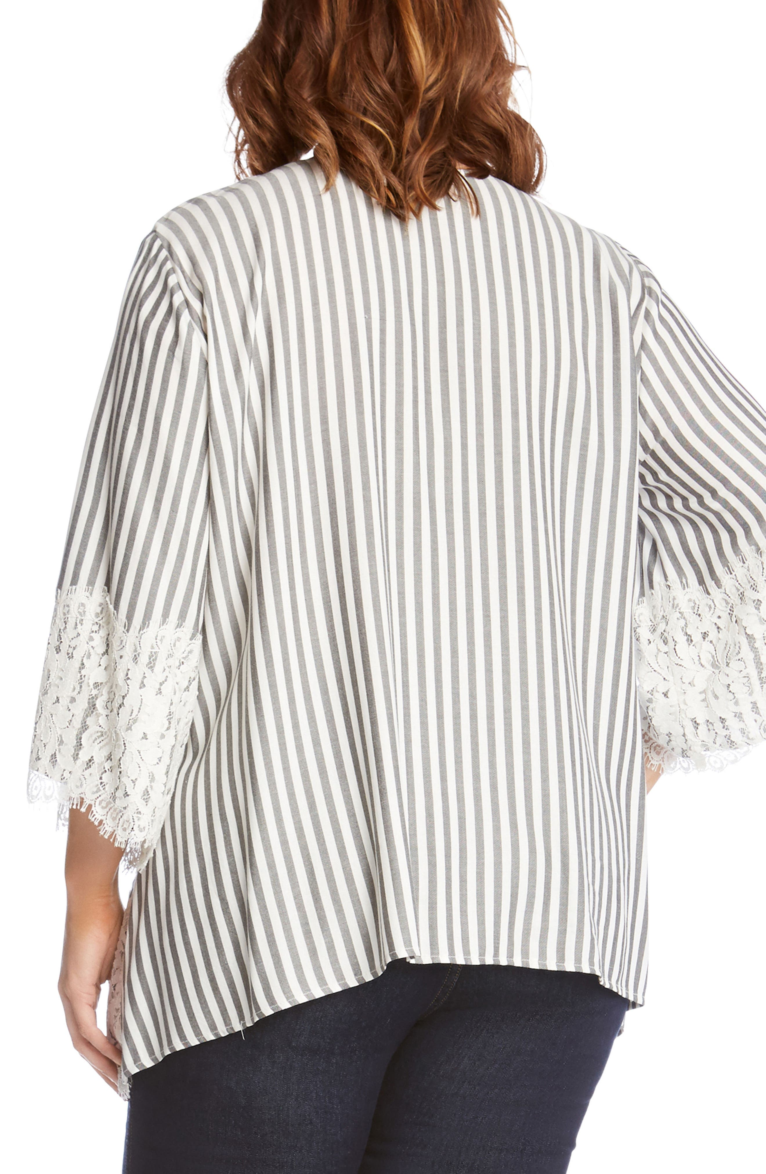 Lace Hem Stripe Top,                             Alternate thumbnail 2, color,                             Stripe